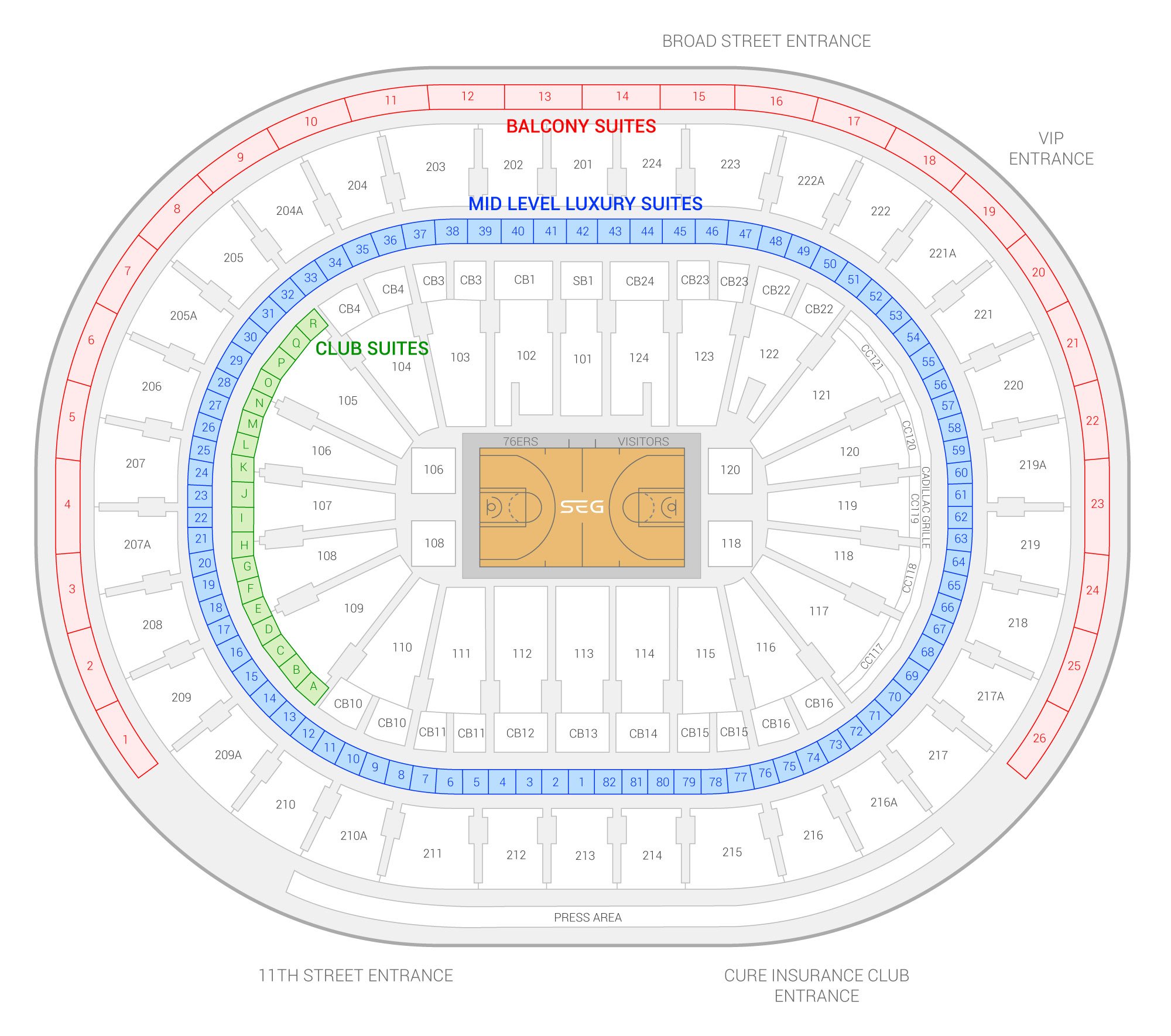 Wells Fargo Center Philadelphia 76ers Suite Map And Seating Chart