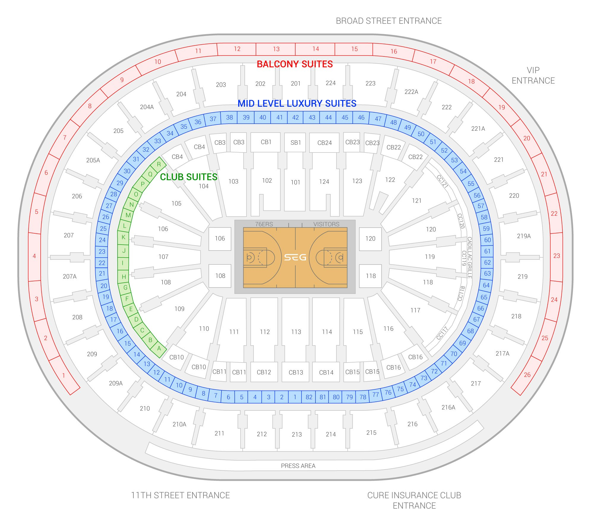 Wells Fargo Center / Philadelphia 76ers Suite Map and Seating Chart