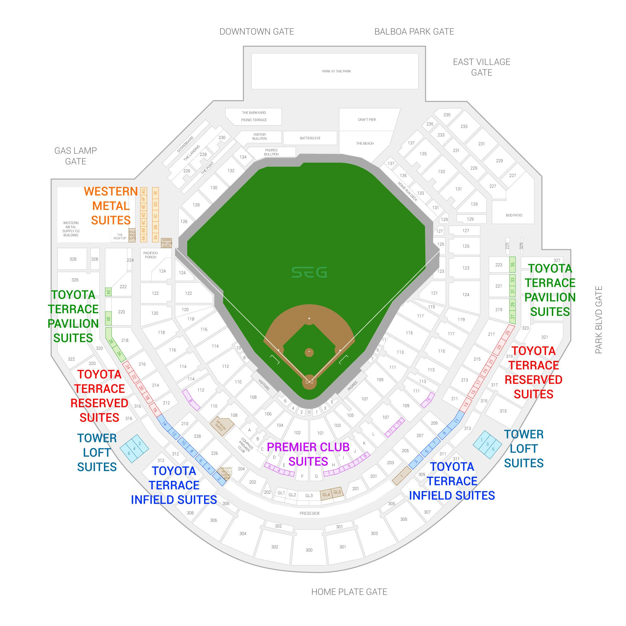 Petco Park / San Diego Padres Suite Map and Seating Chart