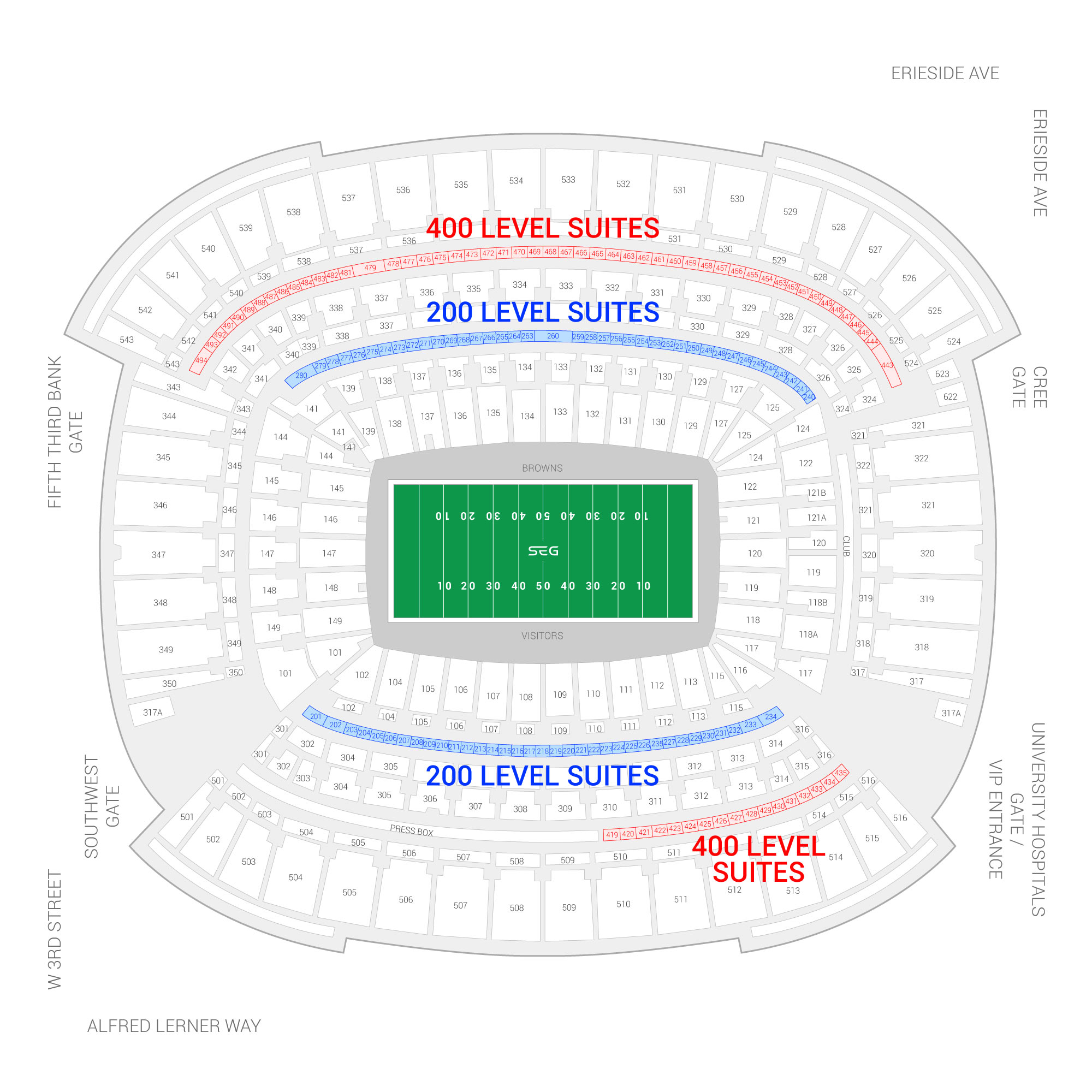 FirstEnergy Stadium / Cleveland Browns Suite Map and Seating Chart
