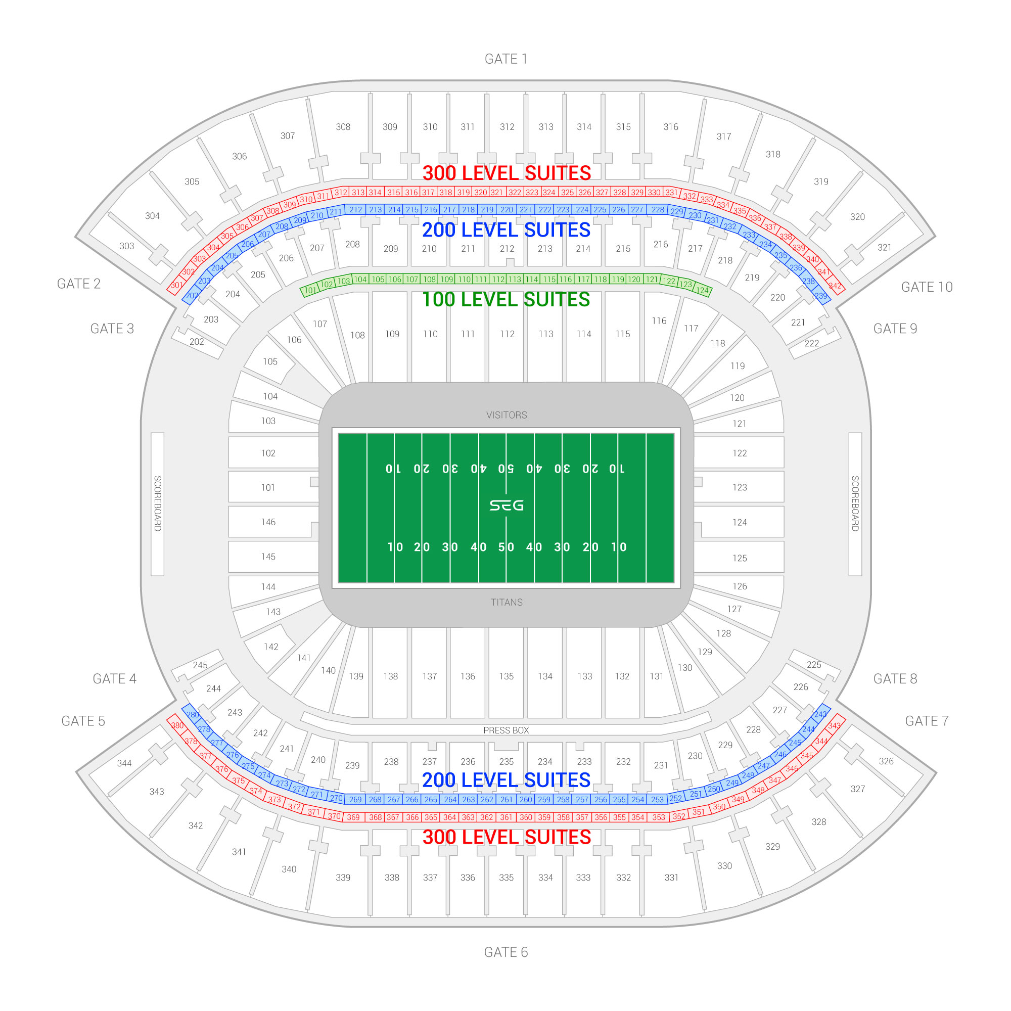 Nissan Stadium / Tennessee Titans Suite Map and Seating Chart
