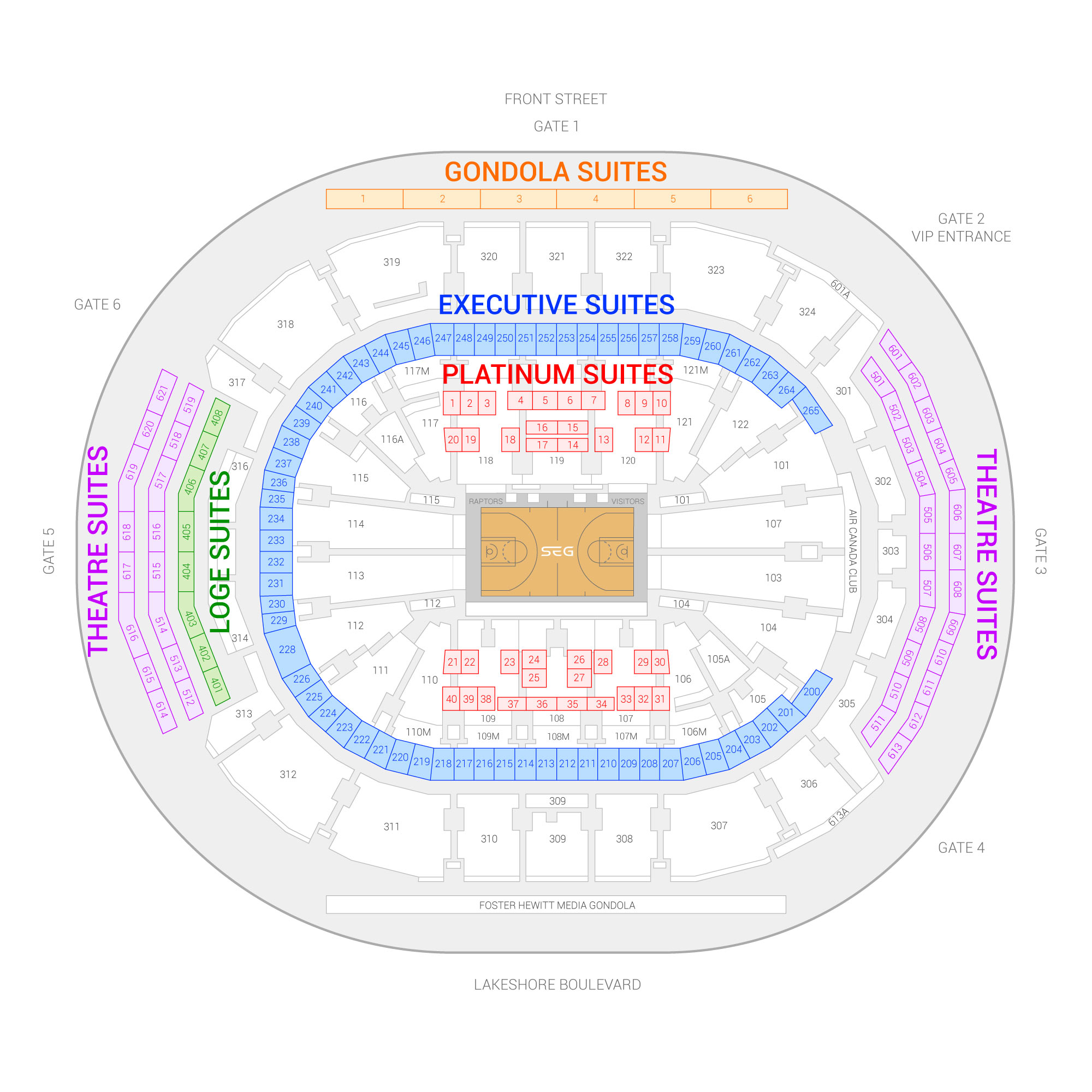 Air Canada Centre / Toronto Raptors Suite Map and Seating Chart