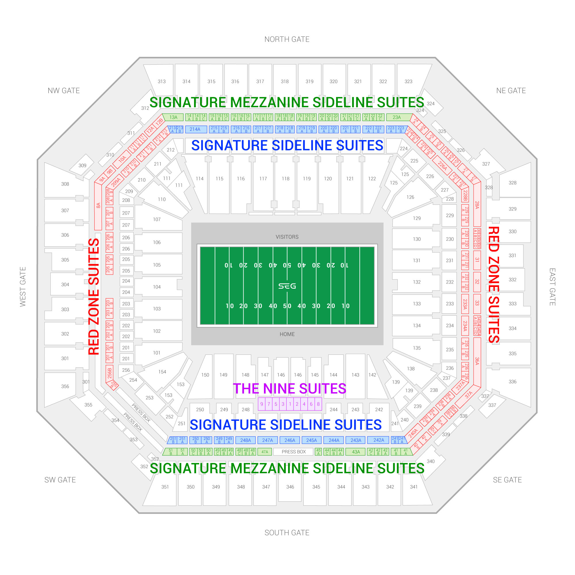 Hard Rock Stadium / Capital One Orange Bowl Suite Map and Seating Chart