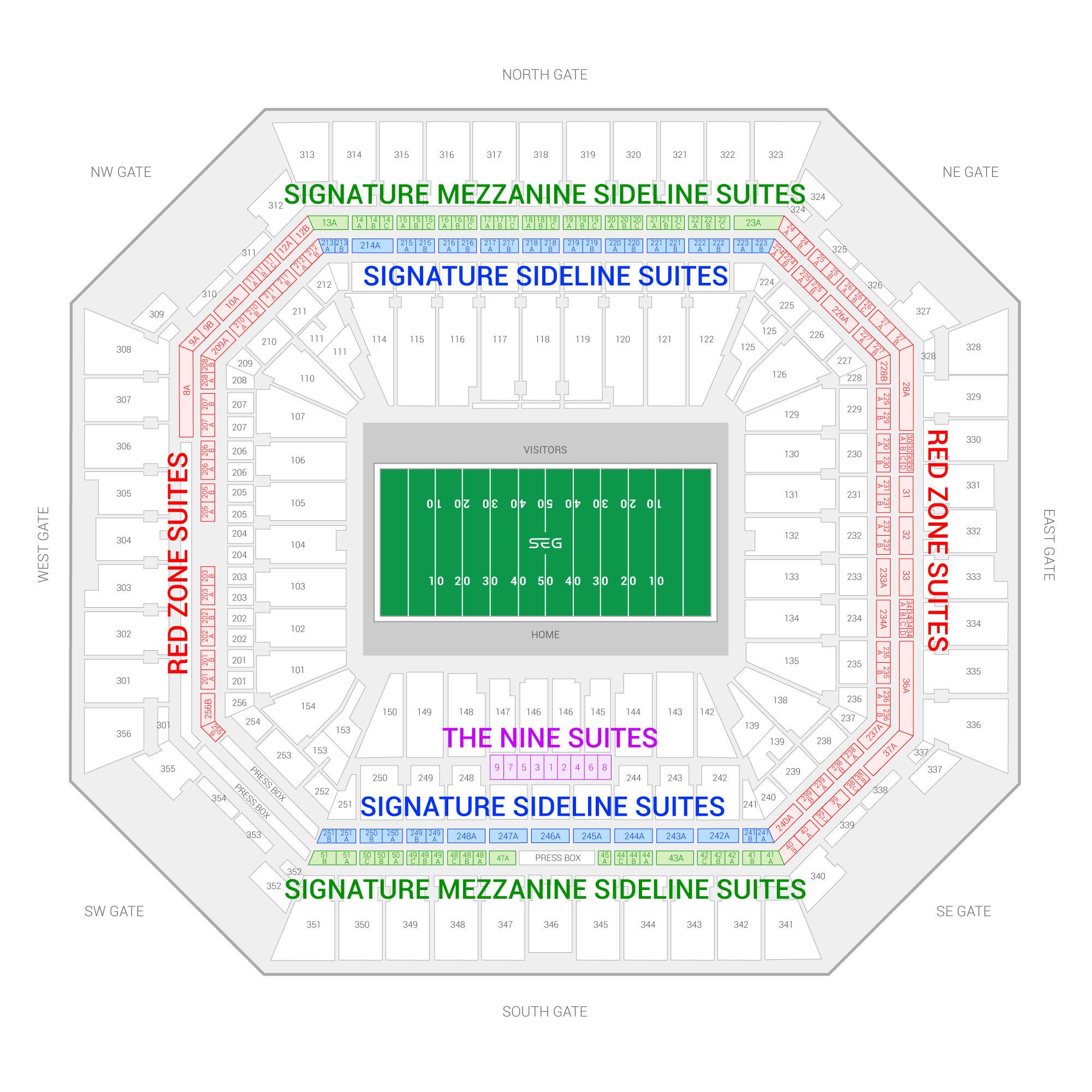 Hard Rock Stadium / Capital One Orange Bowl Suite Map and Seating Chart