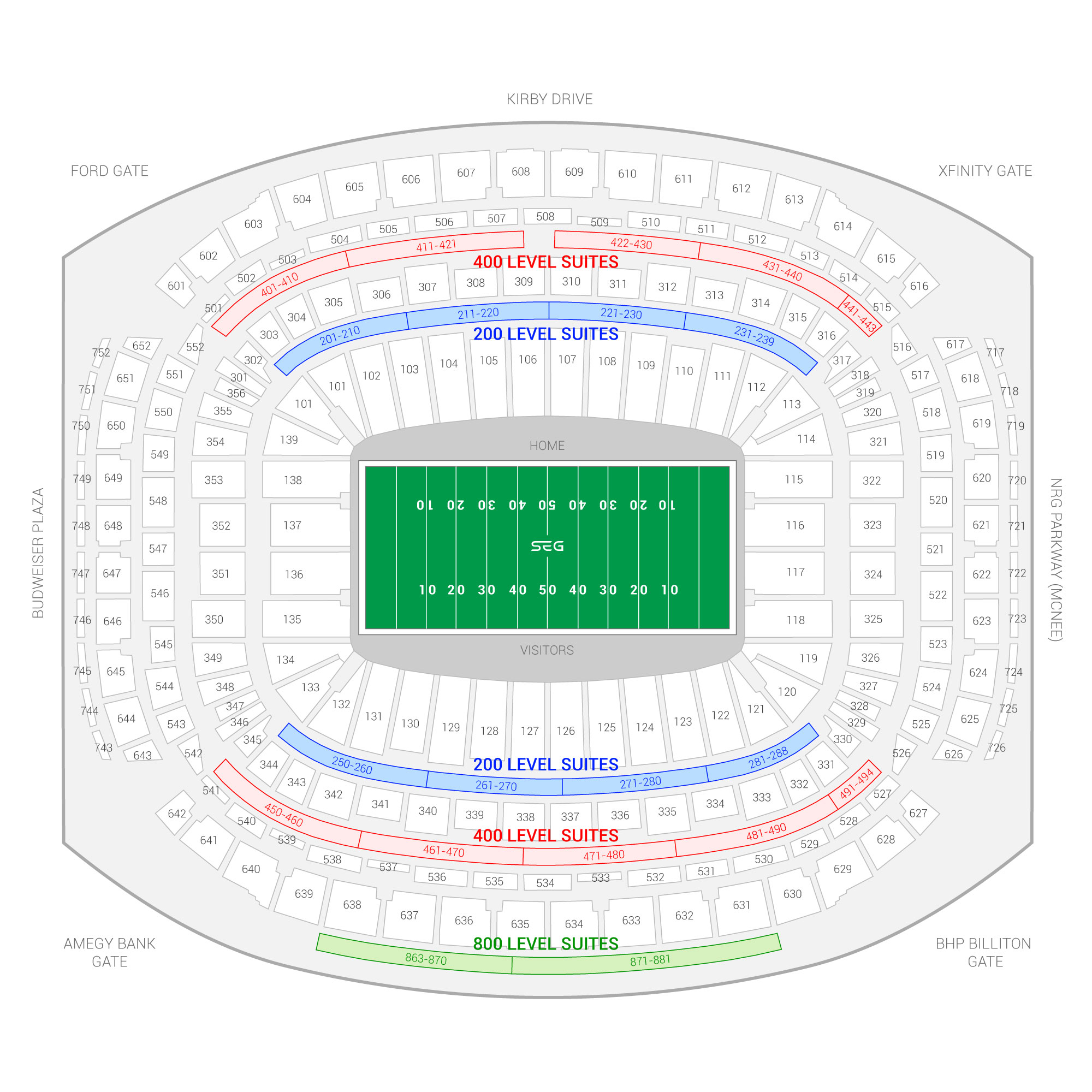 NRG Stadium / Academy Sports and Outdoors Texas Bowl Suite Map and Seating Chart