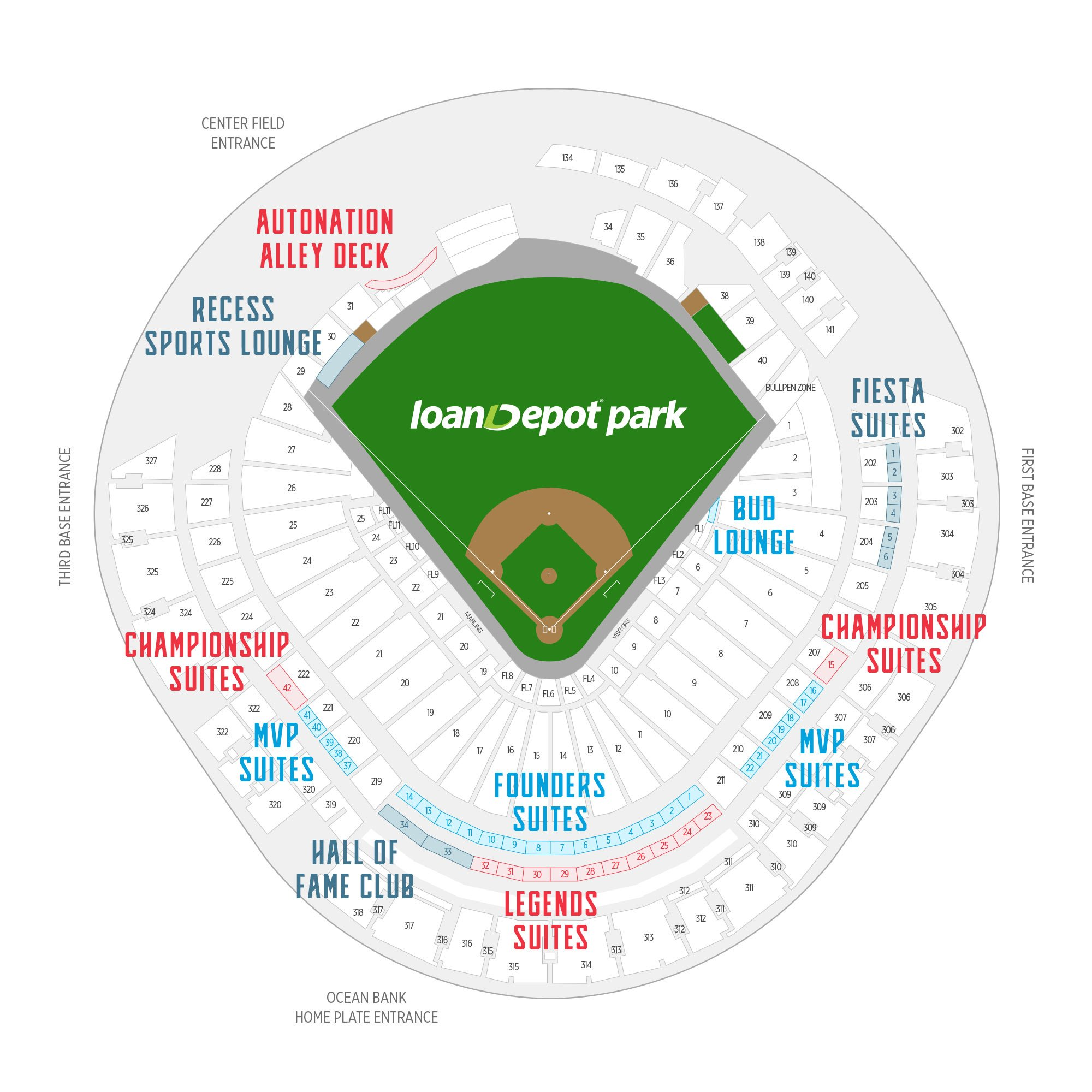 Marlins Park / Miami Marlins Suite Map and Seating Chart