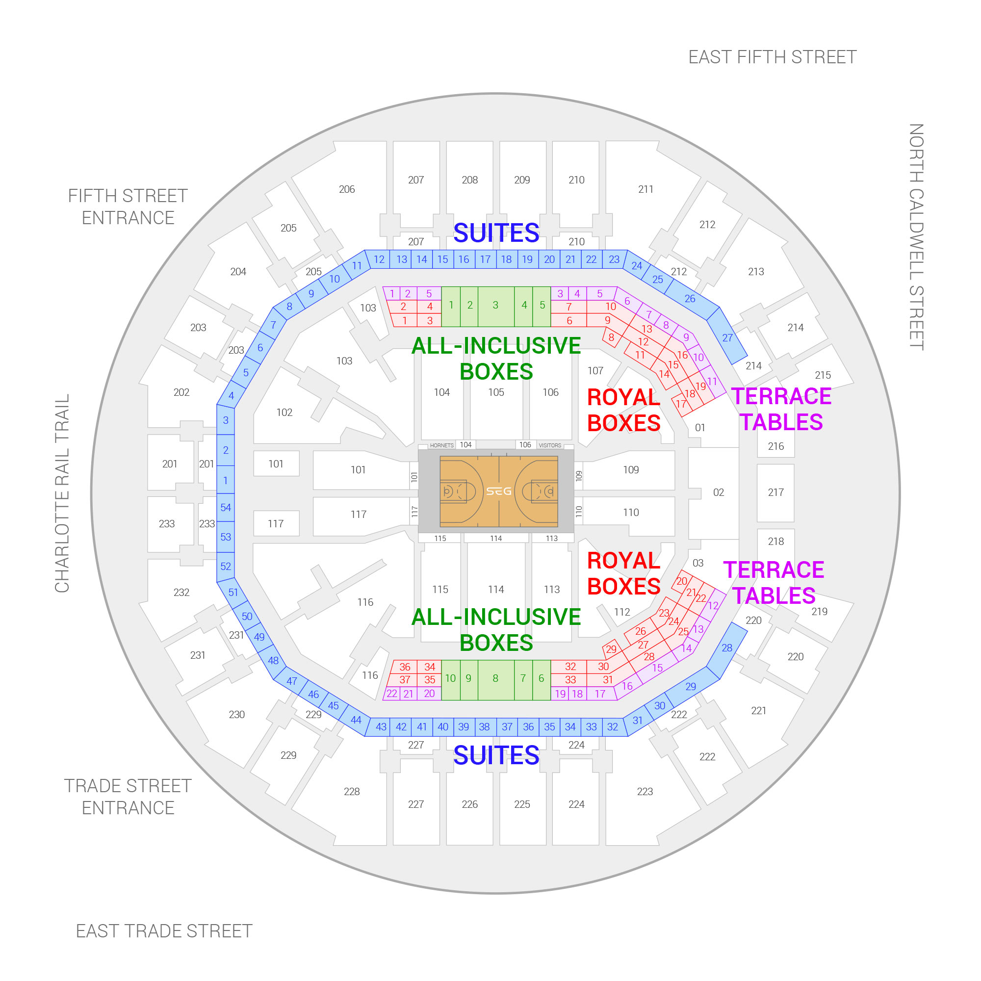 Spectrum Center /  Suite Map and Seating Chart