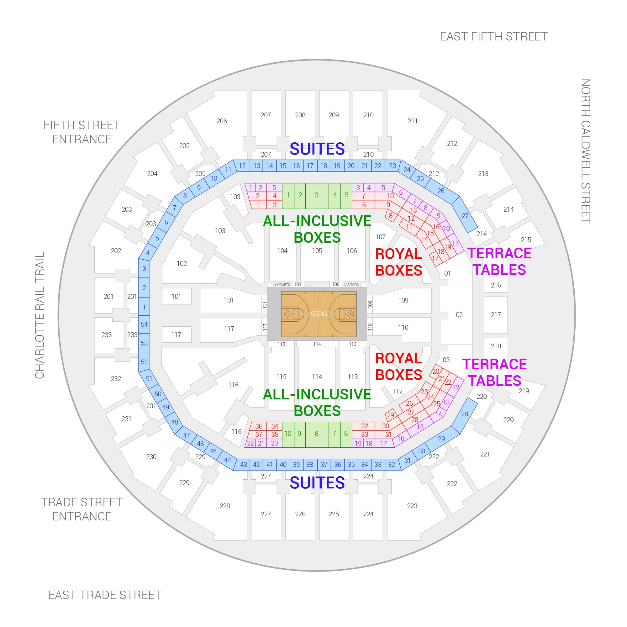 Spectrum Center / Charlotte Hornets Suite Map and Seating Chart