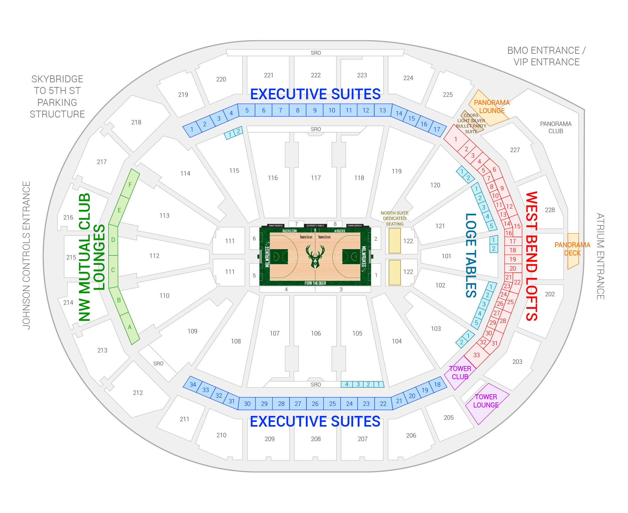 Fiserv Forum / Milwaukee Bucks Suite Map and Seating Chart