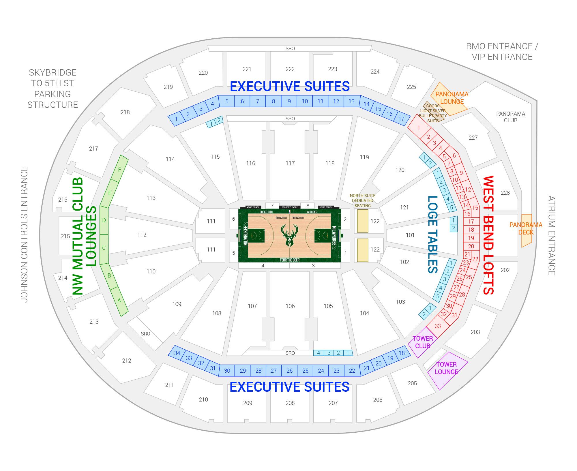 Fiserv Forum / Milwaukee Bucks Suite Map and Seating Chart
