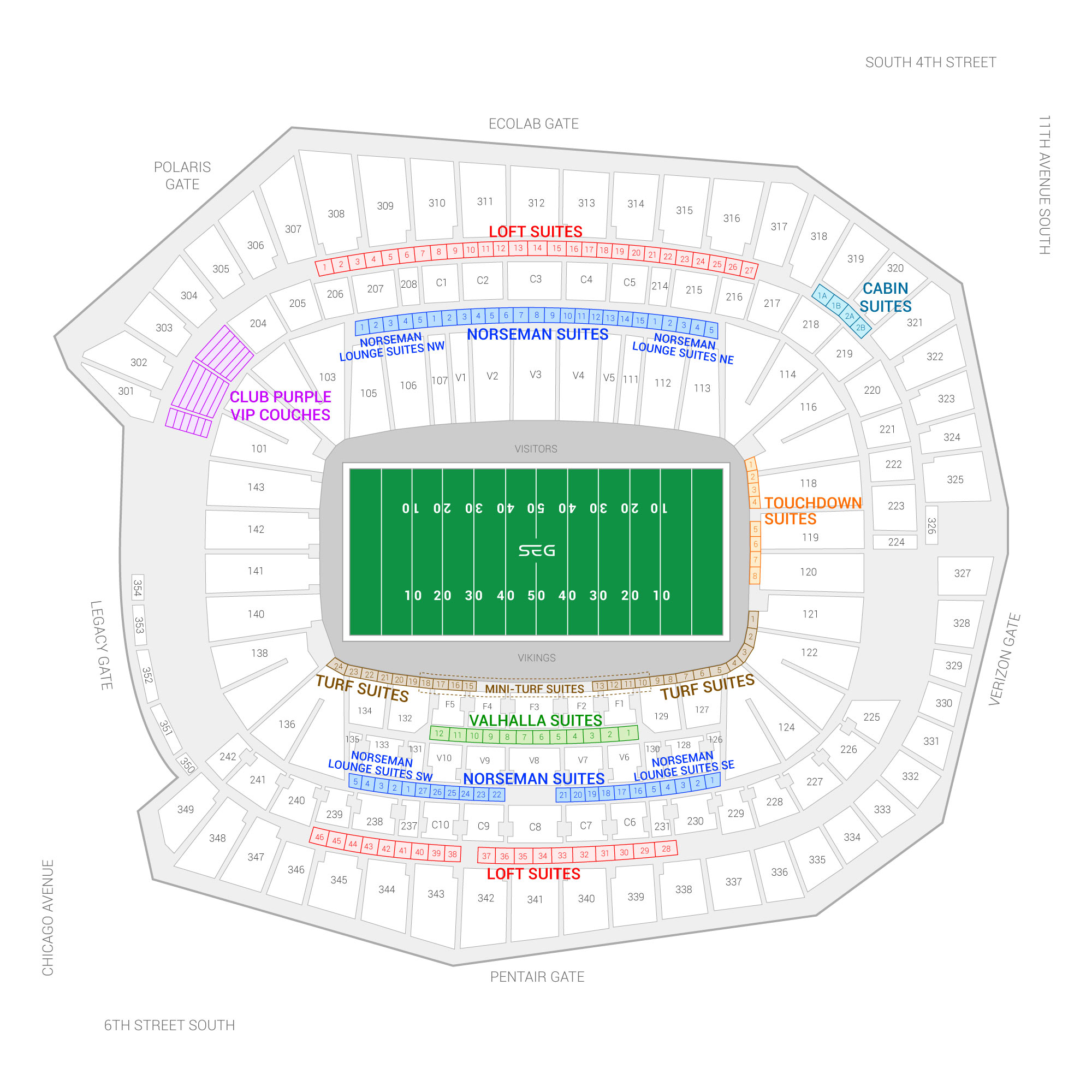 U.S. Bank Stadium / Minnesota Vikings Suite Map and Seating Chart