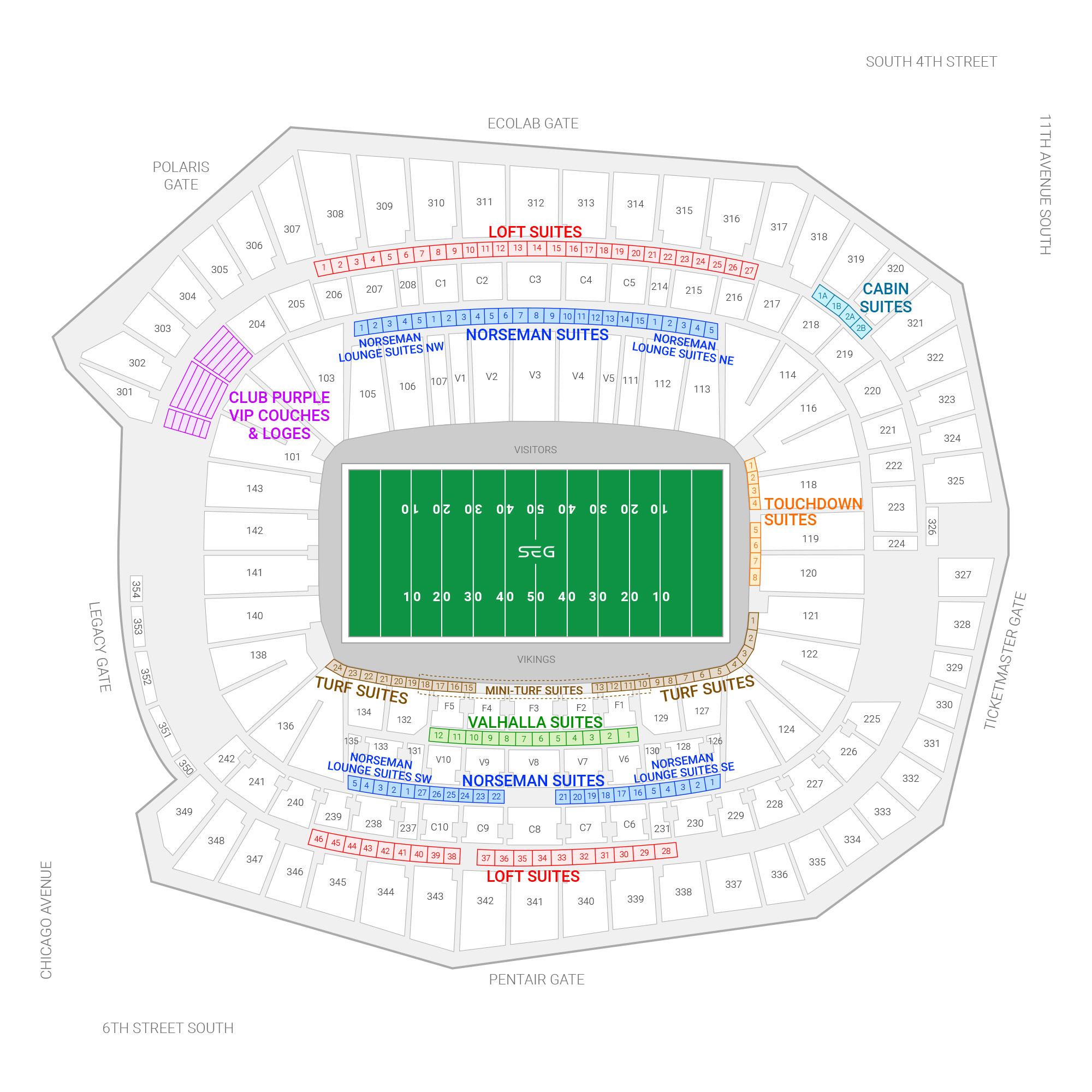 U.S. Bank Stadium / Minnesota Vikings Suite Map and Seating Chart