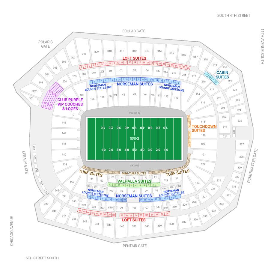 Minnesota Vikings Suite Rentals US Bank Stadium Suite - Us bank stadium suite map