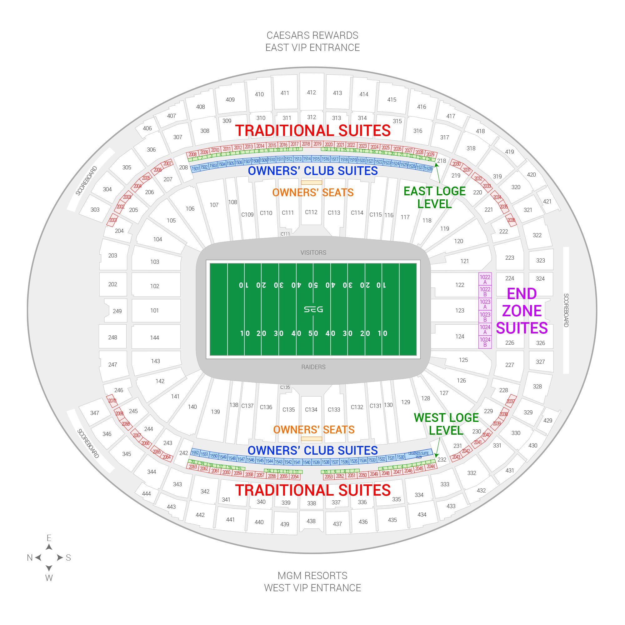 Allegiant Stadium / Las Vegas Raiders Suite Map and Seating Chart