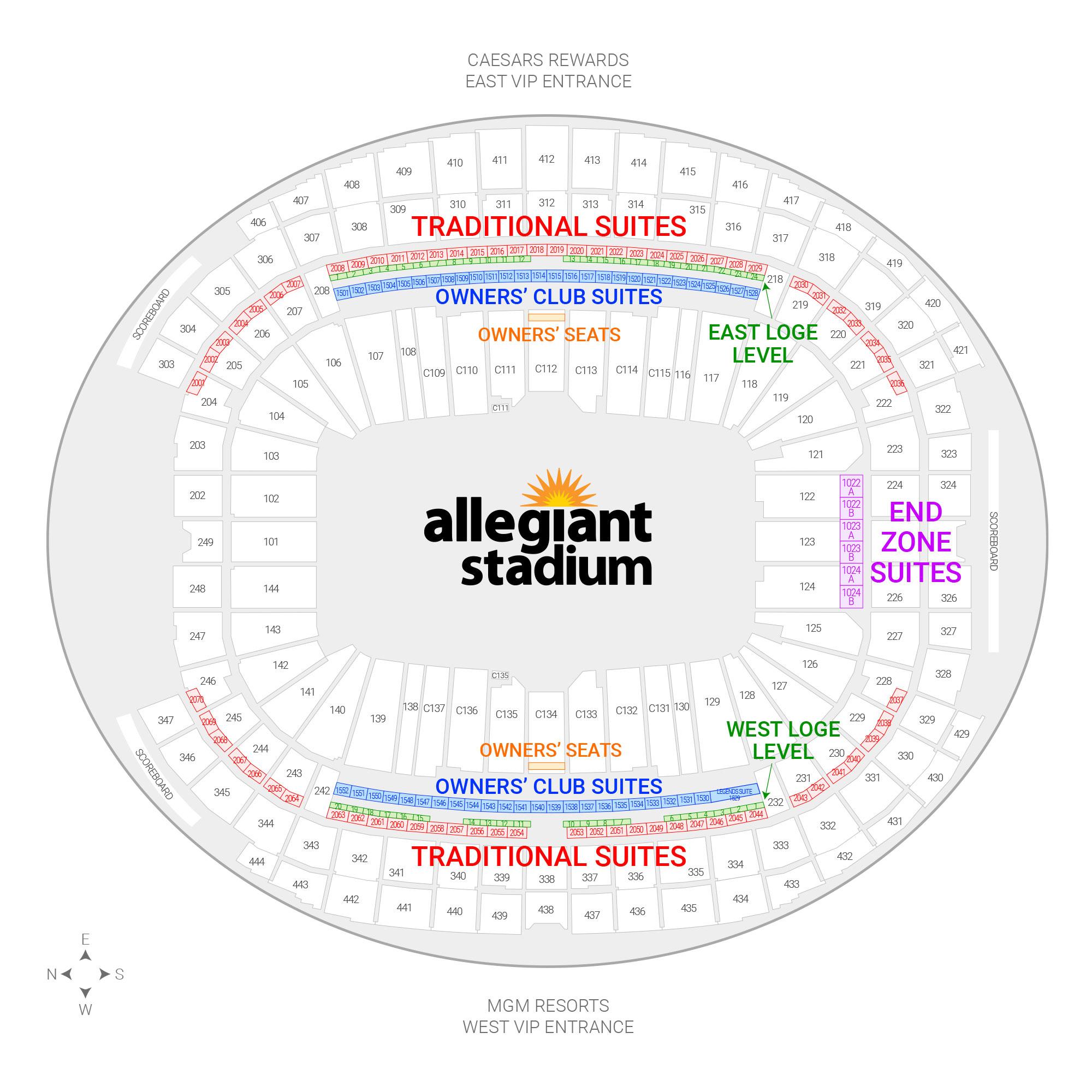 Allegiant Stadium / Las Vegas Raiders Suite Map and Seating Chart