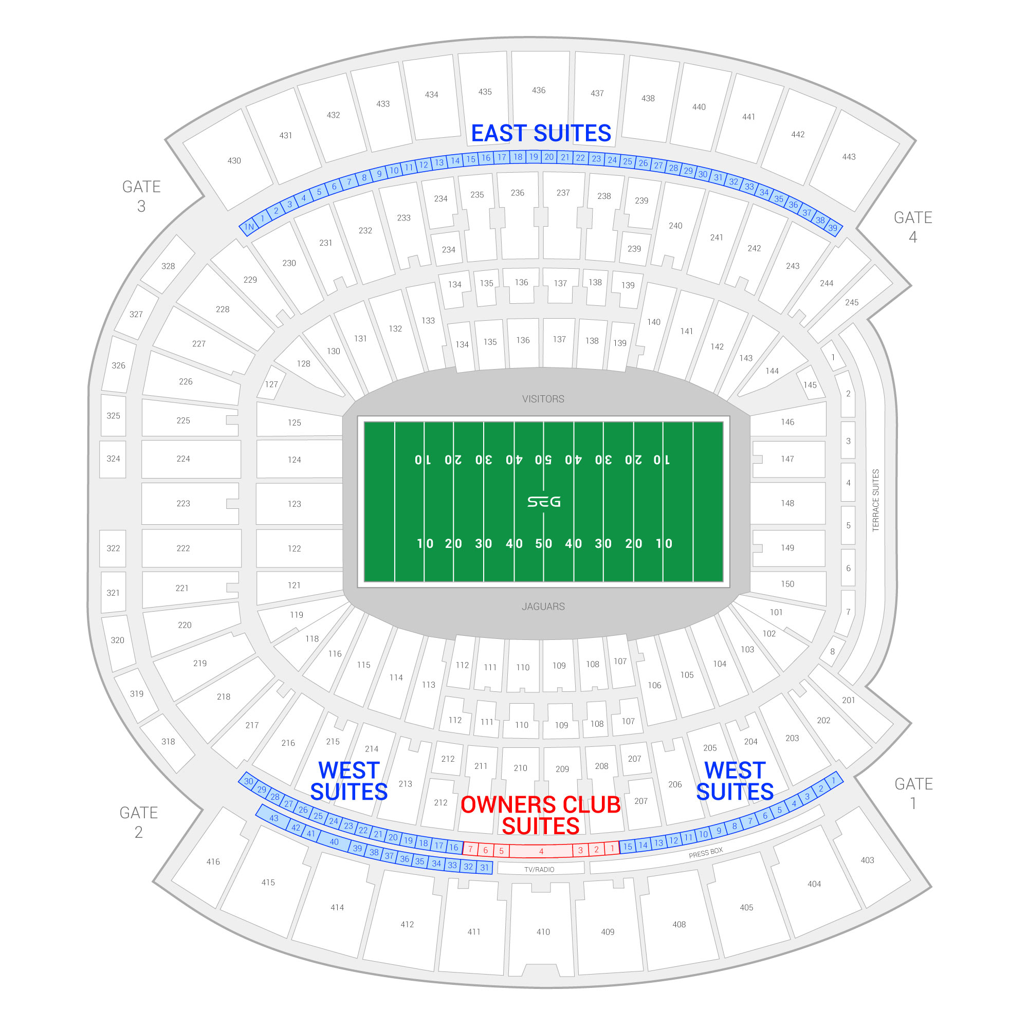 TIAA Bank Field (Formerly EverBank Field) /  Suite Map and Seating Chart