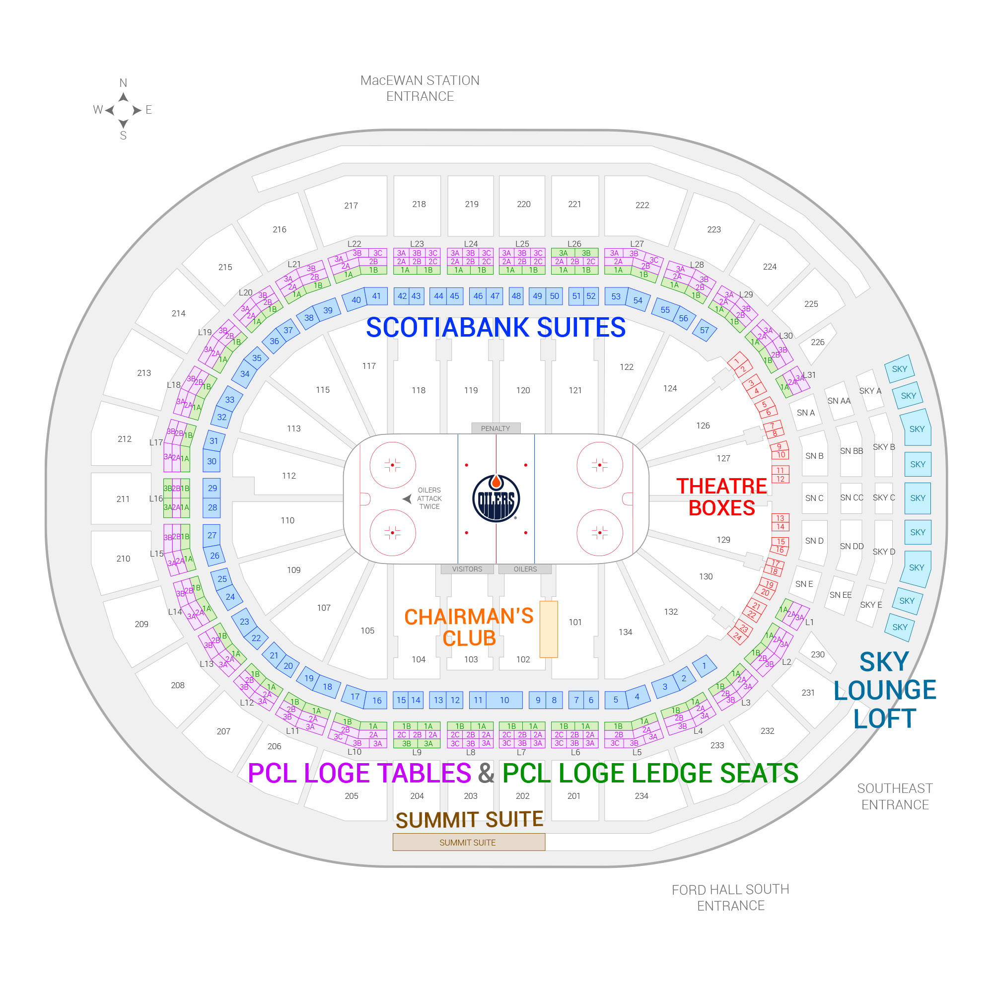 Rogers Place /  Suite Map and Seating Chart