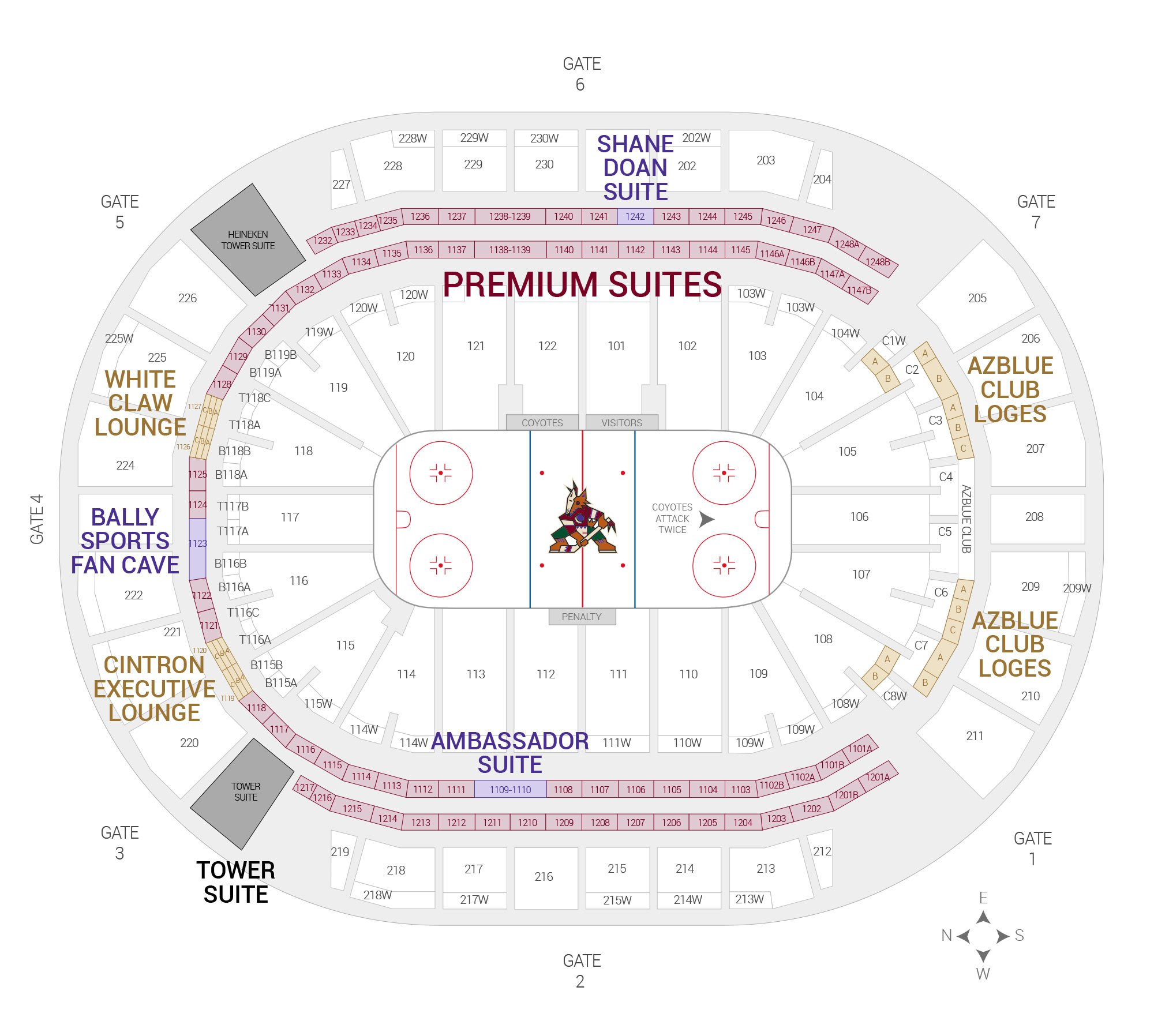 Gila River Arena / Arizona Coyotes Suite Map and Seating Chart
