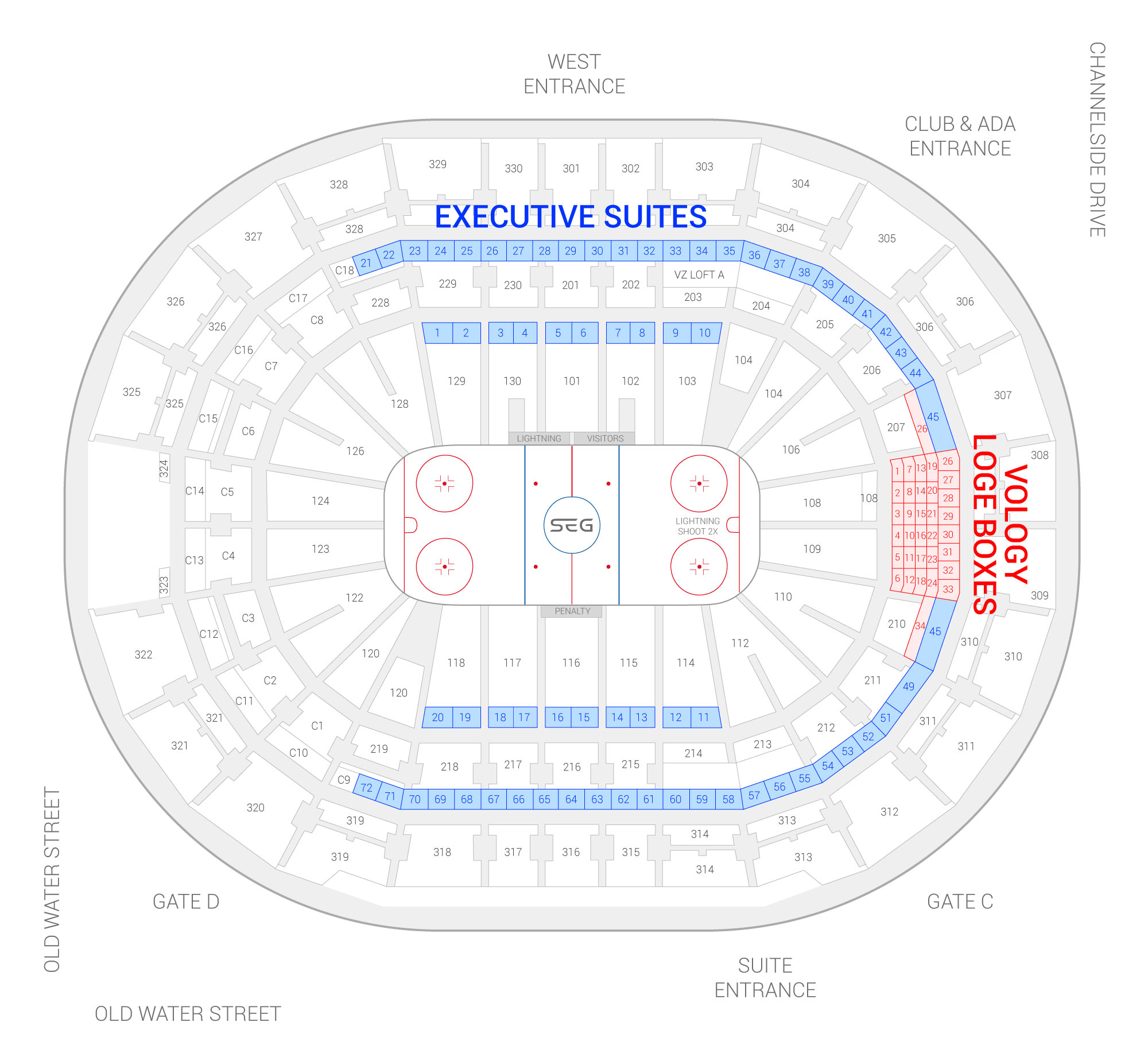 Amalie Arena / Tampa Bay Lightning Suite Map and Seating Chart