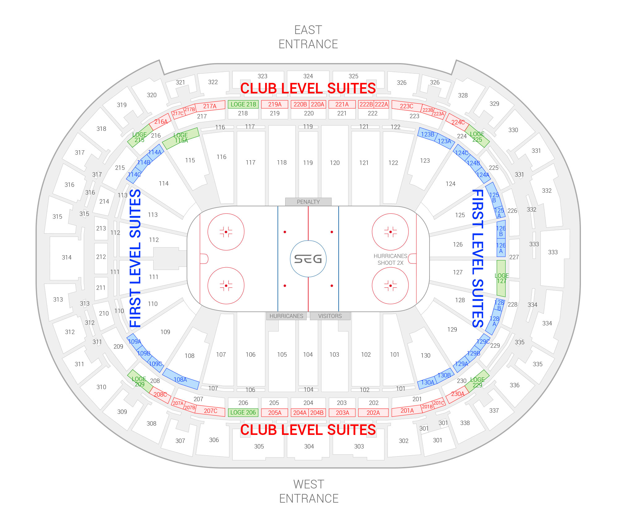 PNC Arena /  Suite Map and Seating Chart