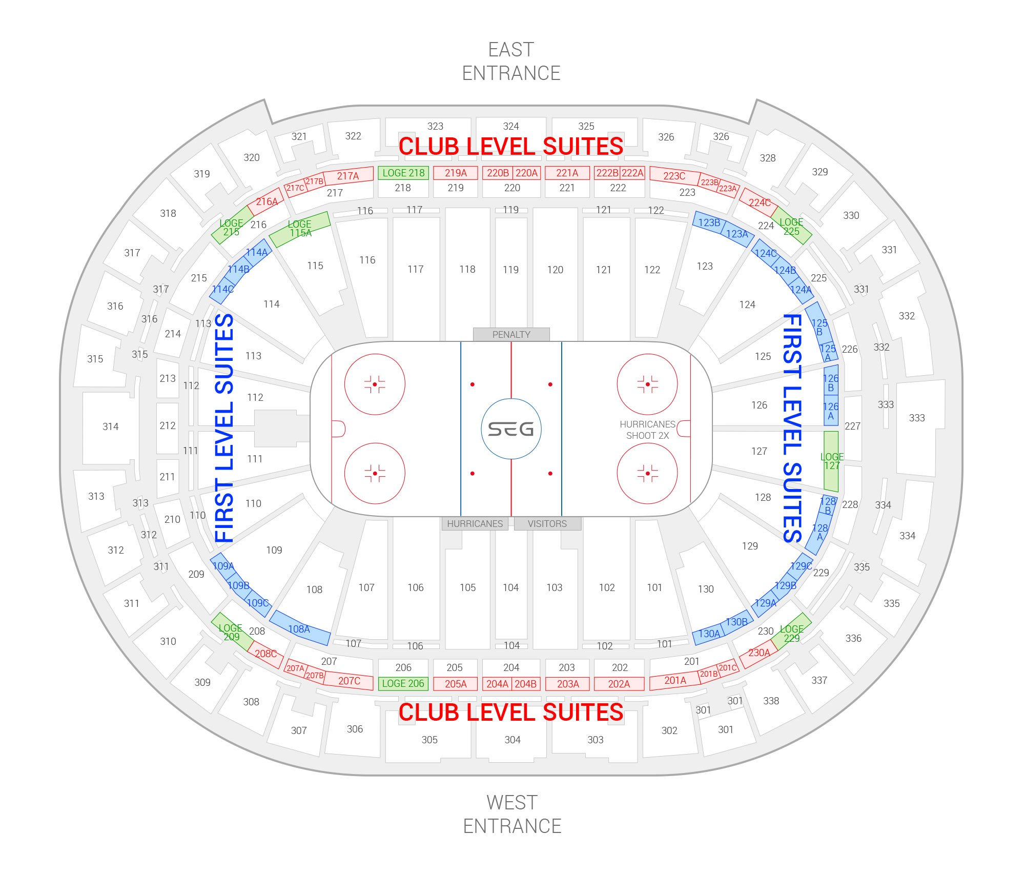 PNC Arena / Carolina Hurricanes Suite Map and Seating Chart