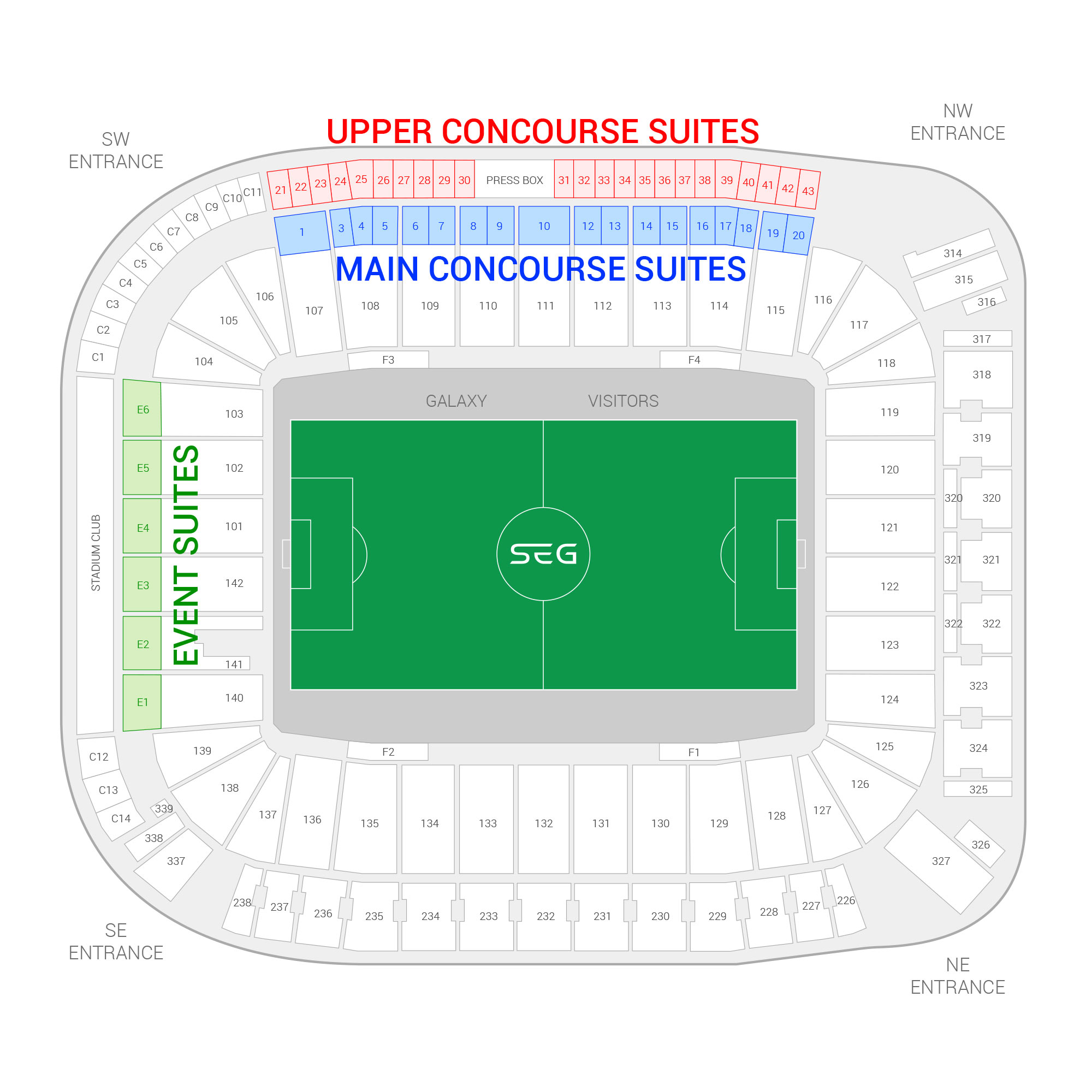 Dignity Health Sports Park / Los Angeles Galaxy Suite Map and Seating Chart