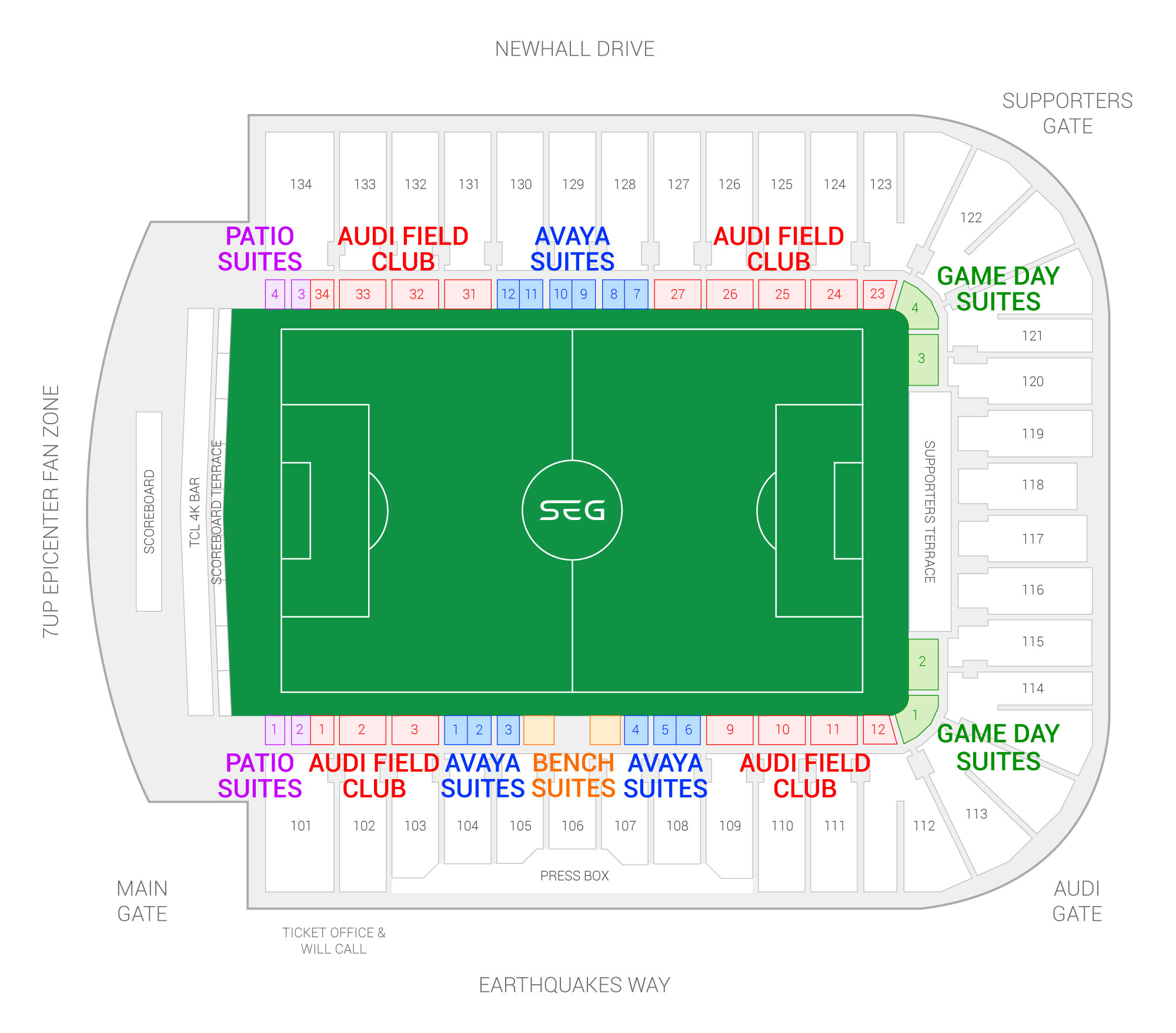 Avaya Stadium / San Jose Earthquakes Suite Map and Seating Chart