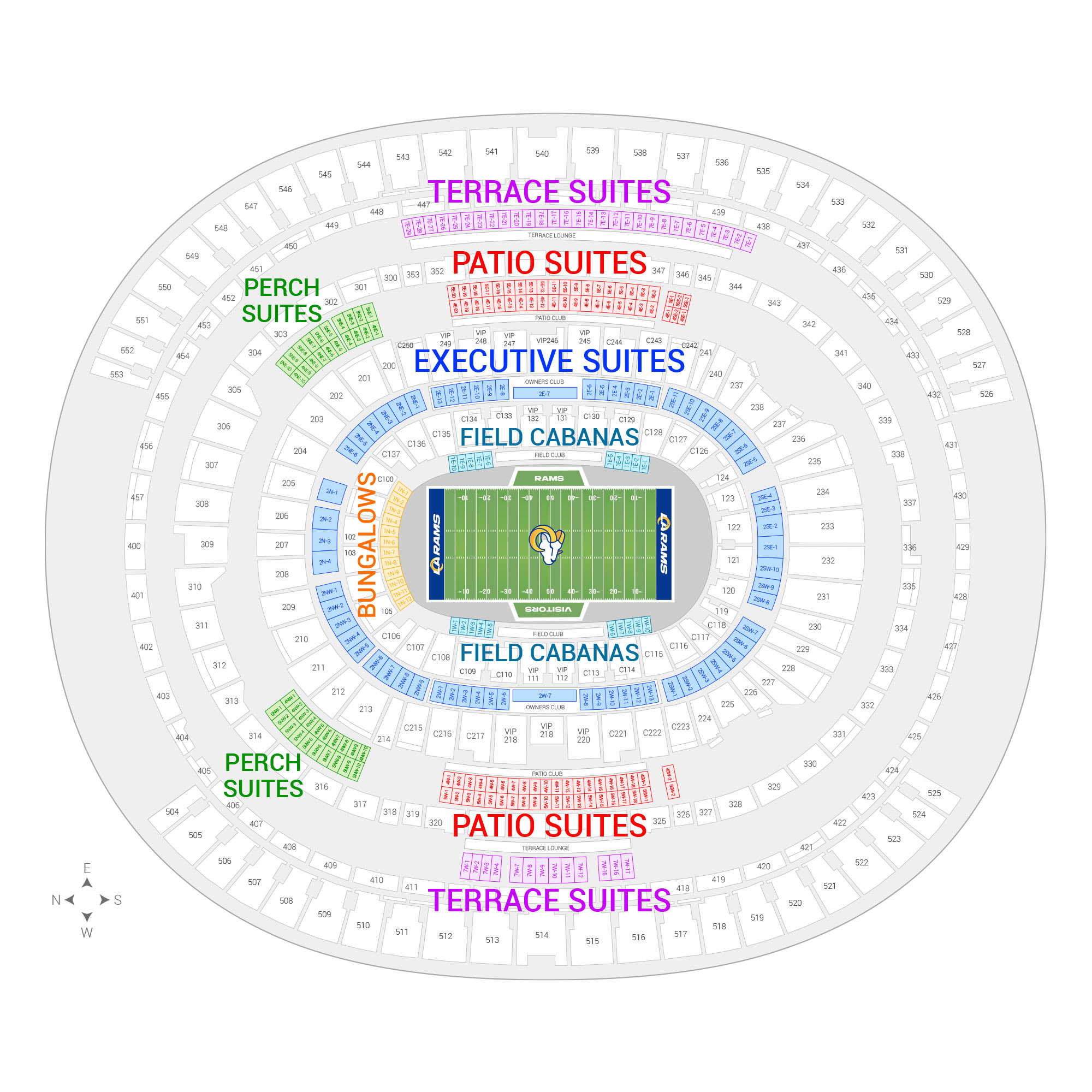 Los Angeles Memorial Coliseum / Los Angeles Rams Suite Map and Seating Chart