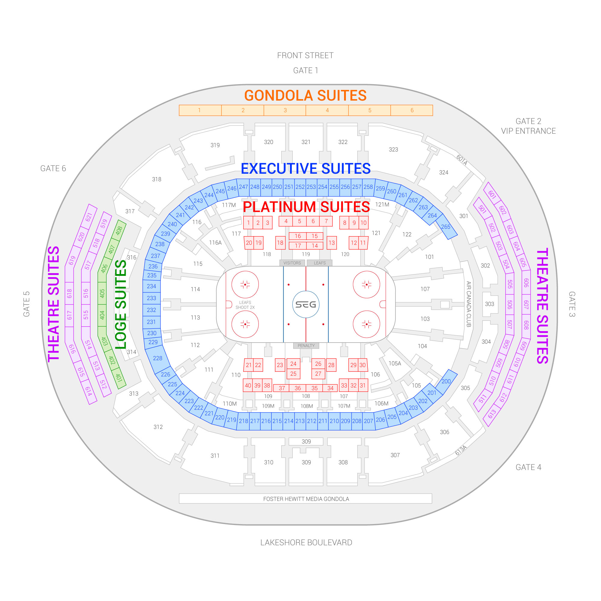 Scotiabank Arena (Formerly Air Canada Centre) / Toronto Maple Leafs Suite Map and Seating Chart