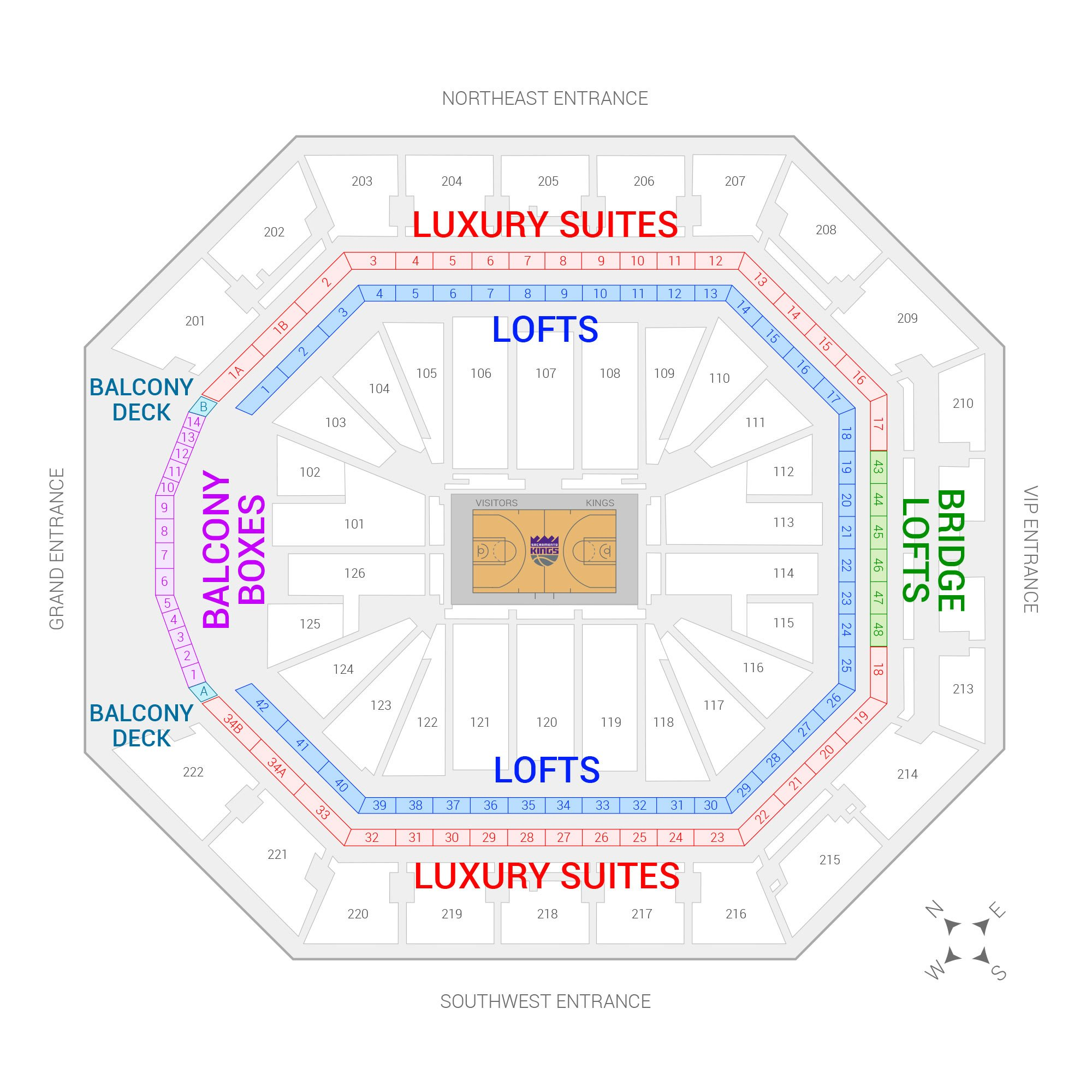 Golden 1 Center / Sacramento Kings Suite Map and Seating Chart