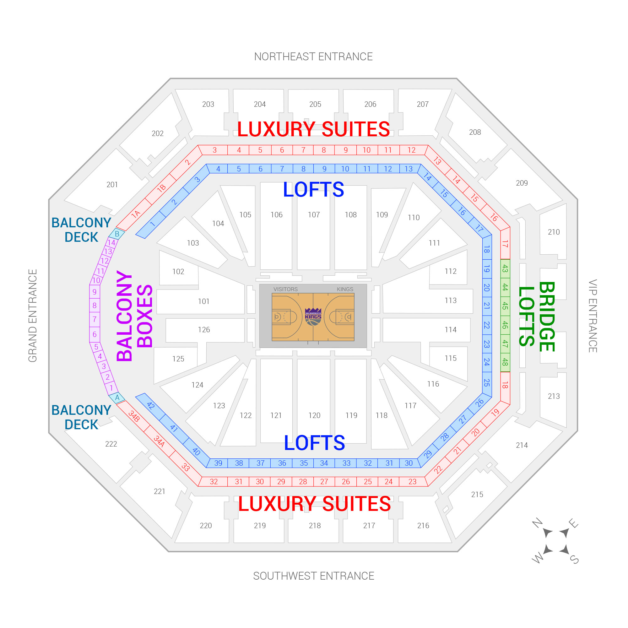 Golden 1 Center Sacramento Kings Suite Map and Seating Chart