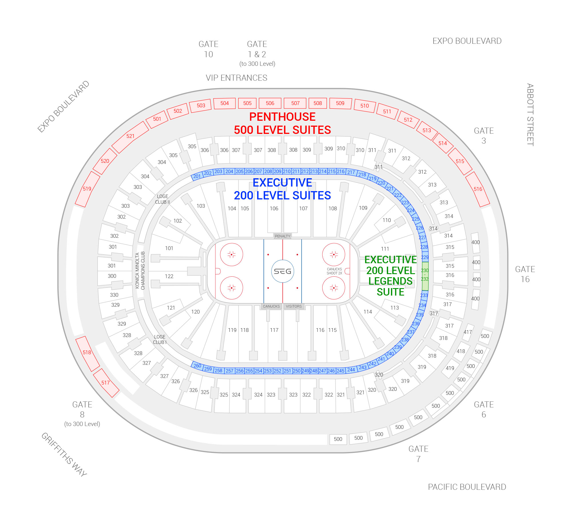 Rogers Arena /  Suite Map and Seating Chart