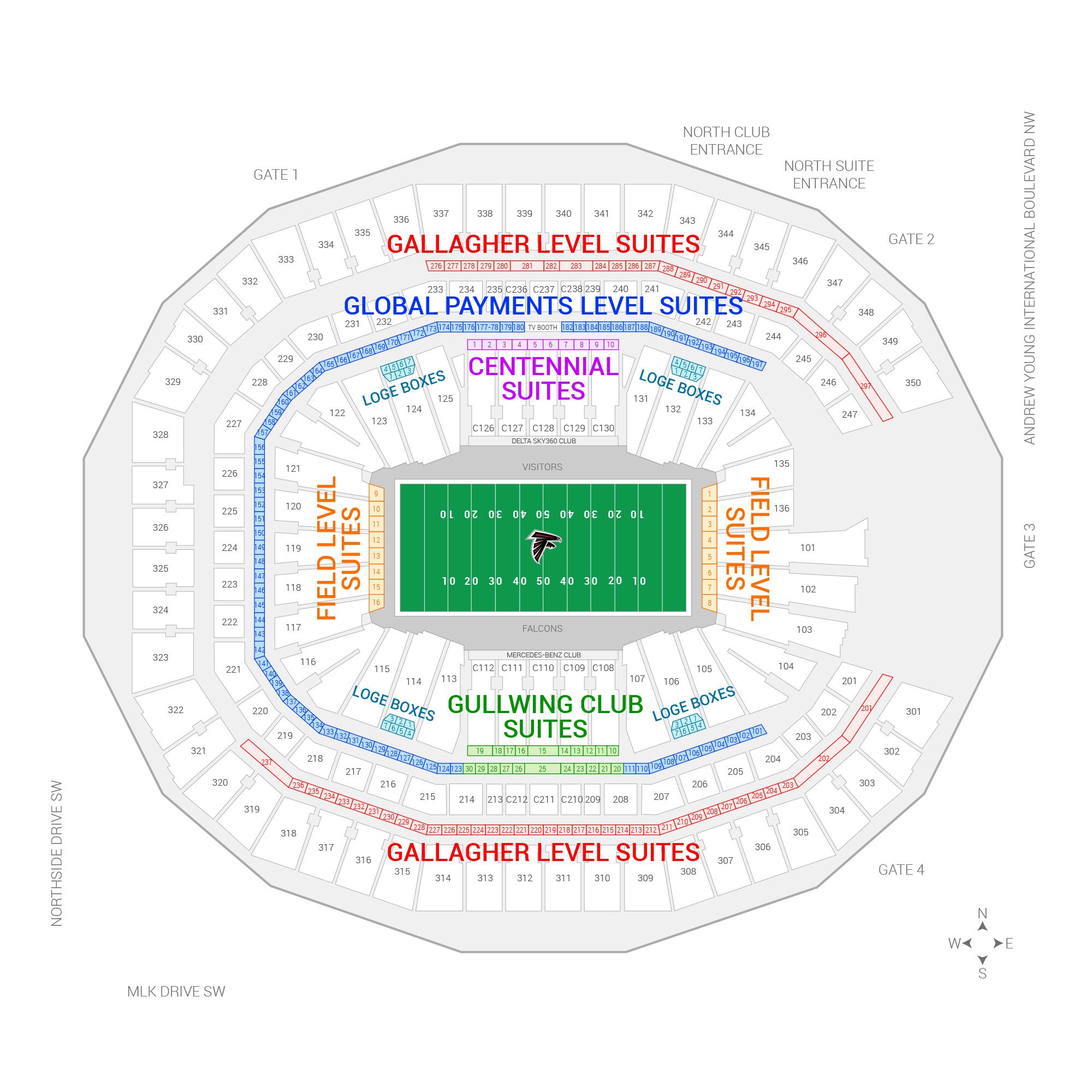 Twins stadium seating chart suites atlanta falcons suite for Mercedes benz stadium suite prices