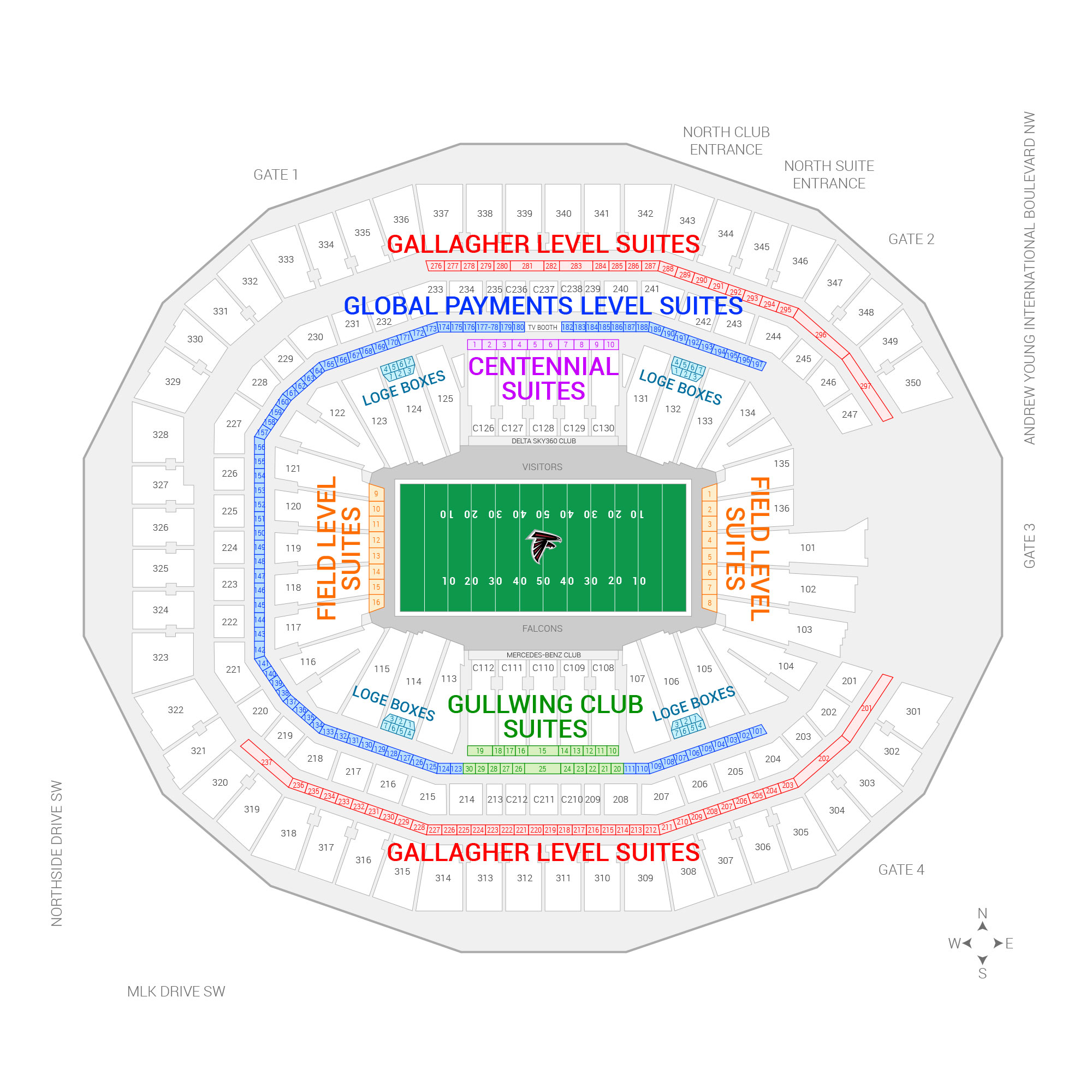 Mercedes-Benz Stadium / Atlanta Falcons Suite Map and Seating Chart