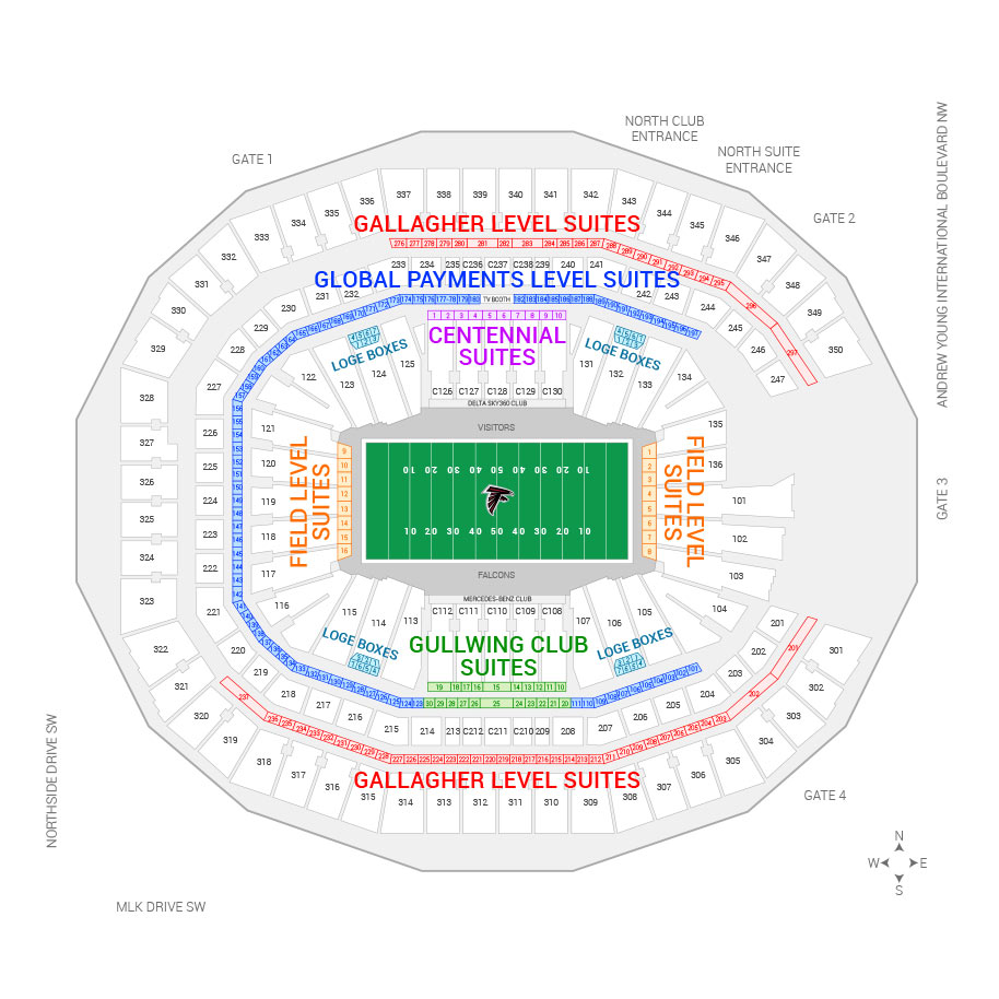 Atlanta falcons suite rentals mercedes benz stadium for Mercedes benz stadium seating chart atlanta united
