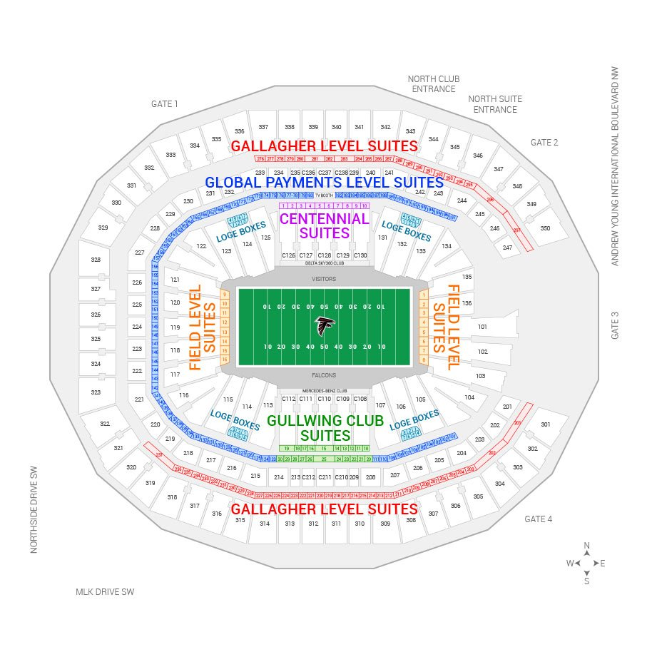 Mercedes Benz Stadium Atlanta Falcons Suite Map And Seating Chart