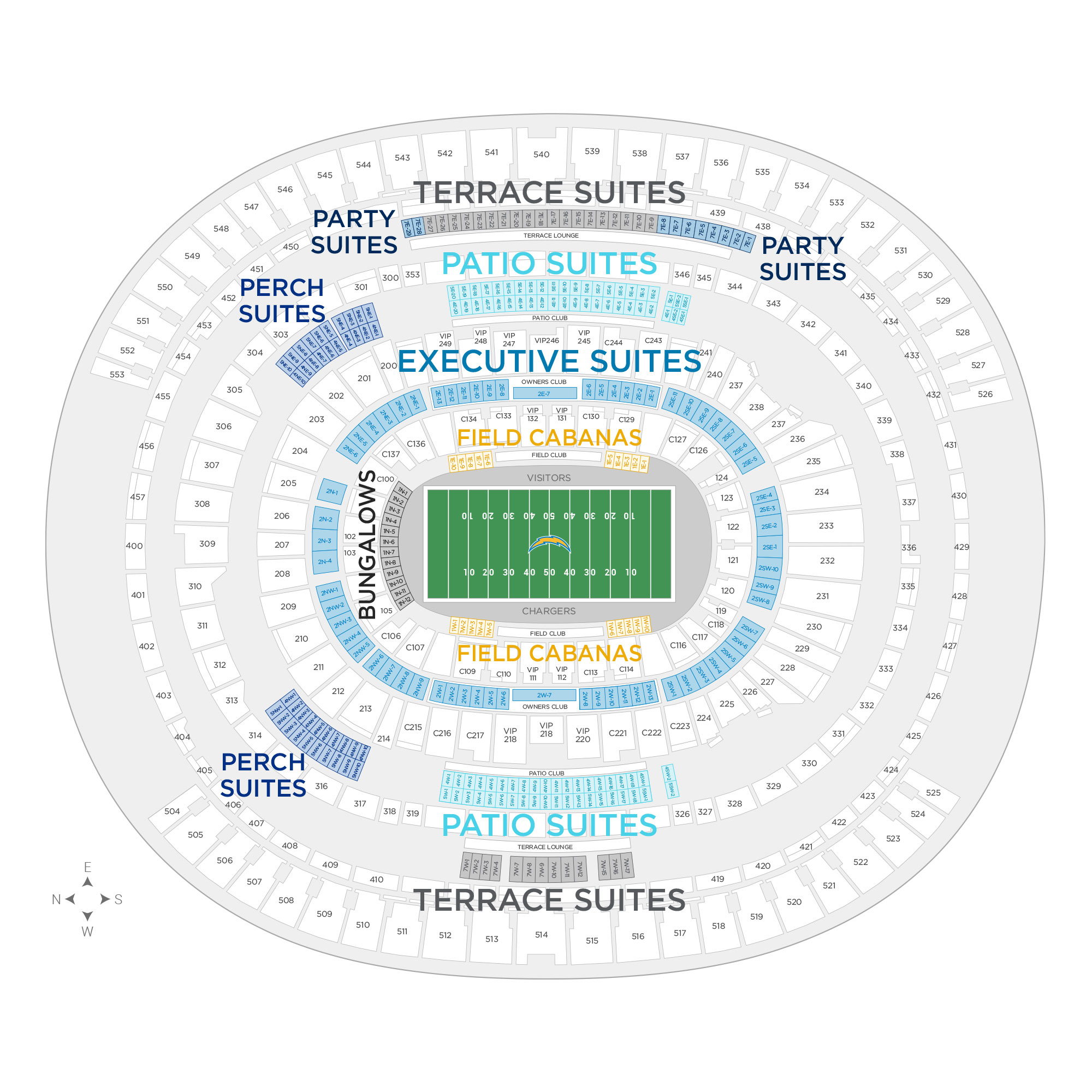 Dignity Health Sports Park (formerly StubHub Center) / Los Angeles Chargers Suite Map and Seating Chart