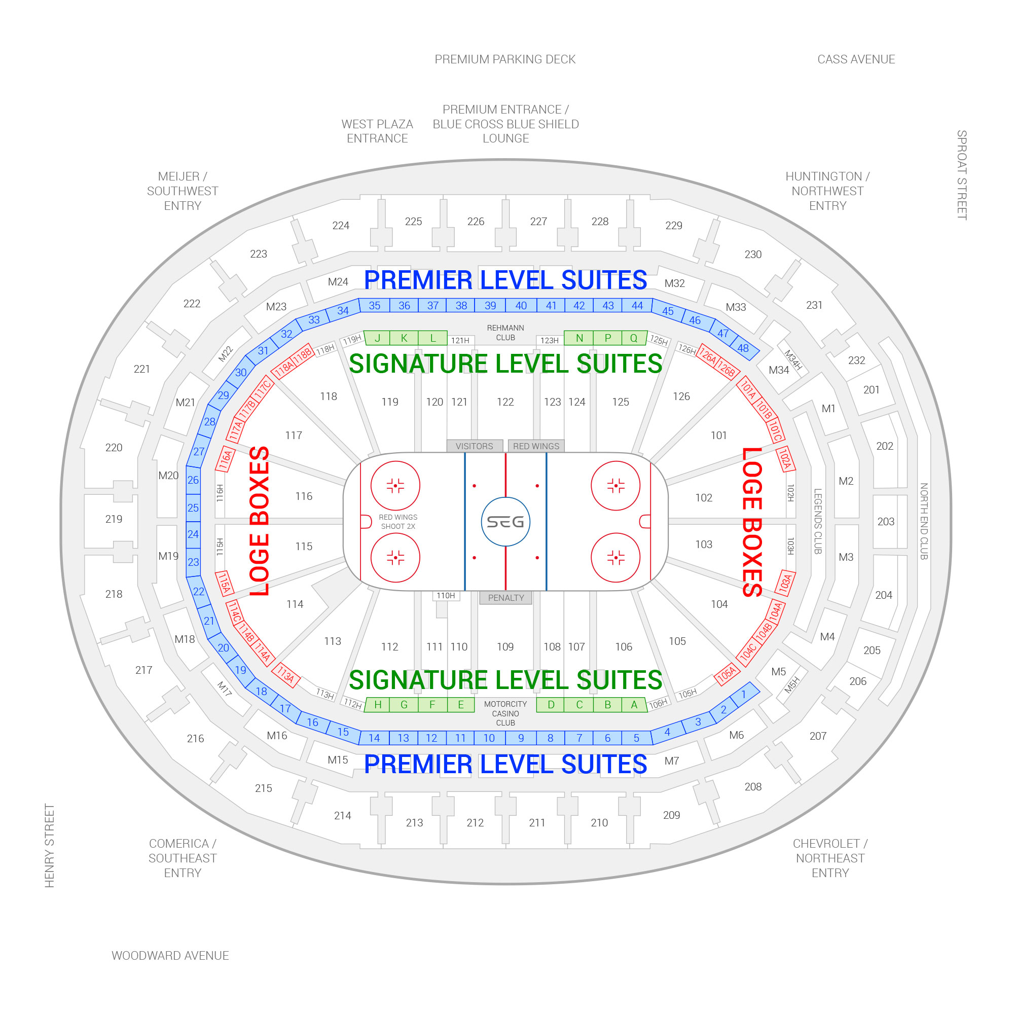 Little Caesars Arena /  Suite Map and Seating Chart