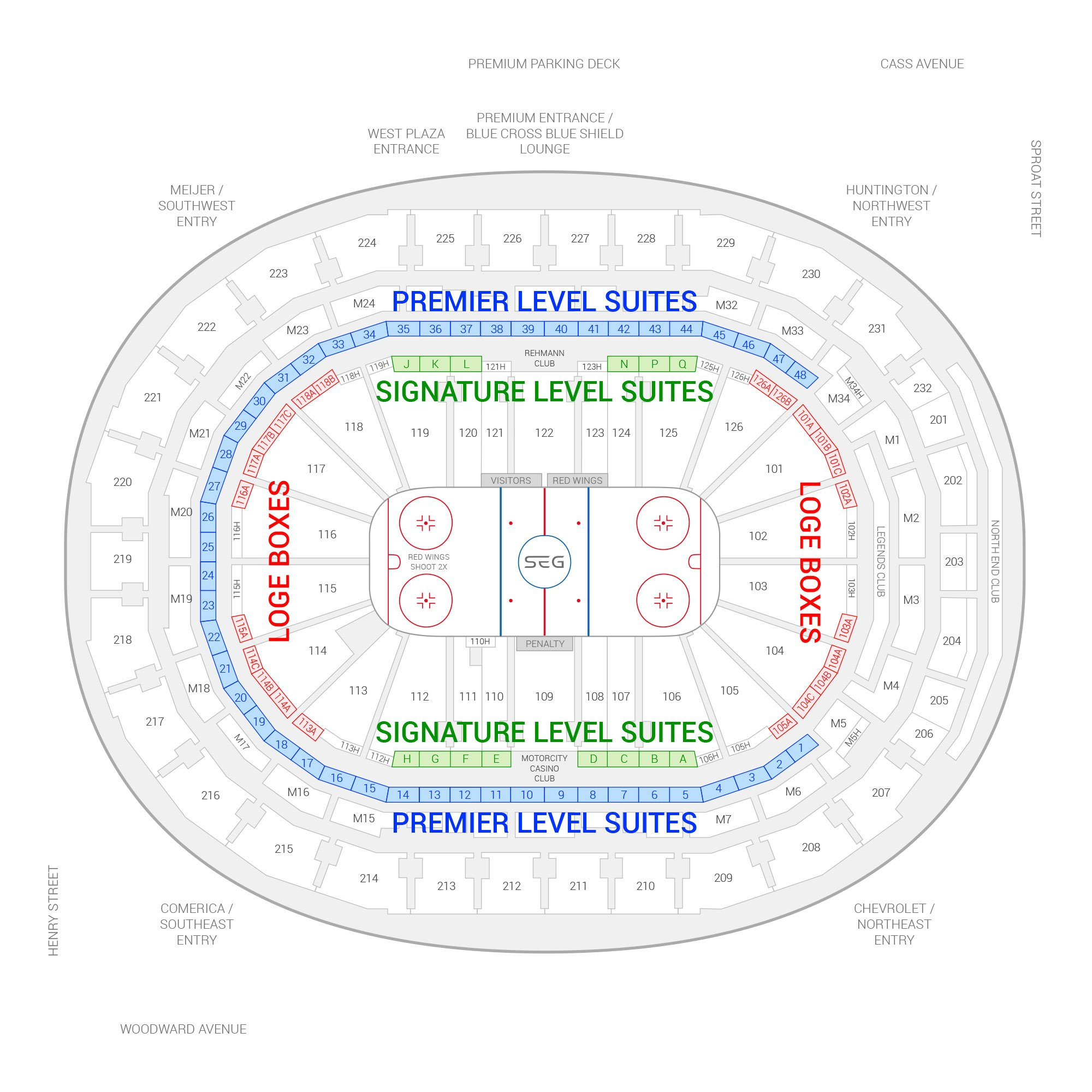 Little Caesars Arena / Detroit Red Wings Suite Map and Seating Chart
