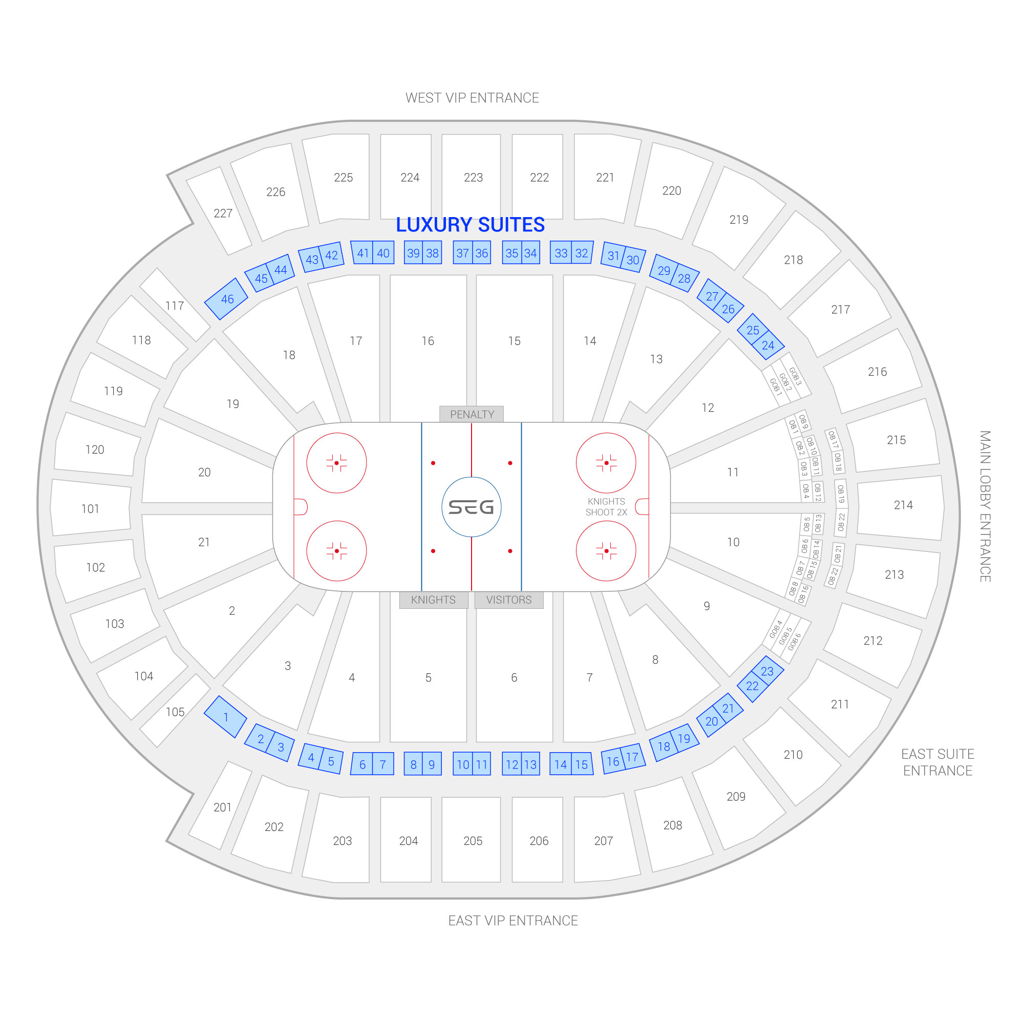 T-Mobile Arena / Vegas Golden Knights Suite Map and Seating Chart