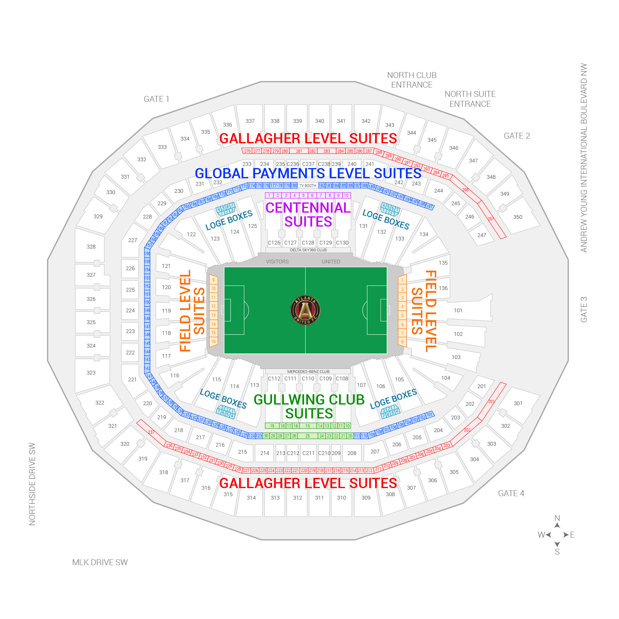 Mercedes-Benz Stadium / Atlanta United FC Suite Map and Seating Chart