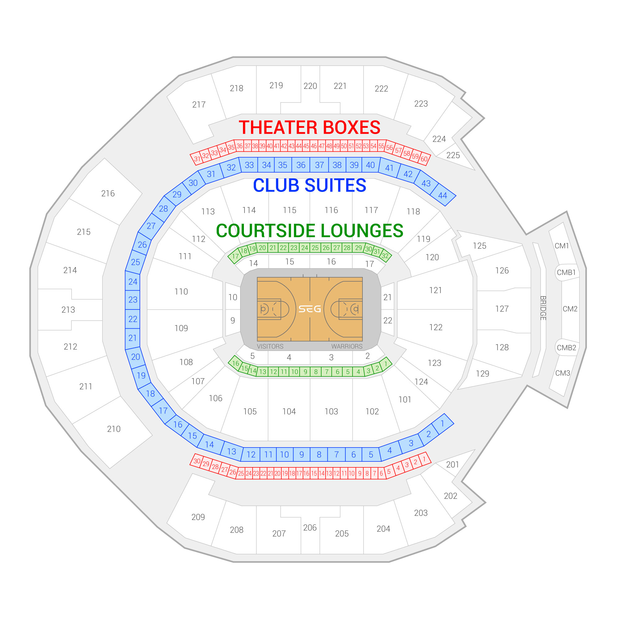 Chase Center /  Suite Map and Seating Chart