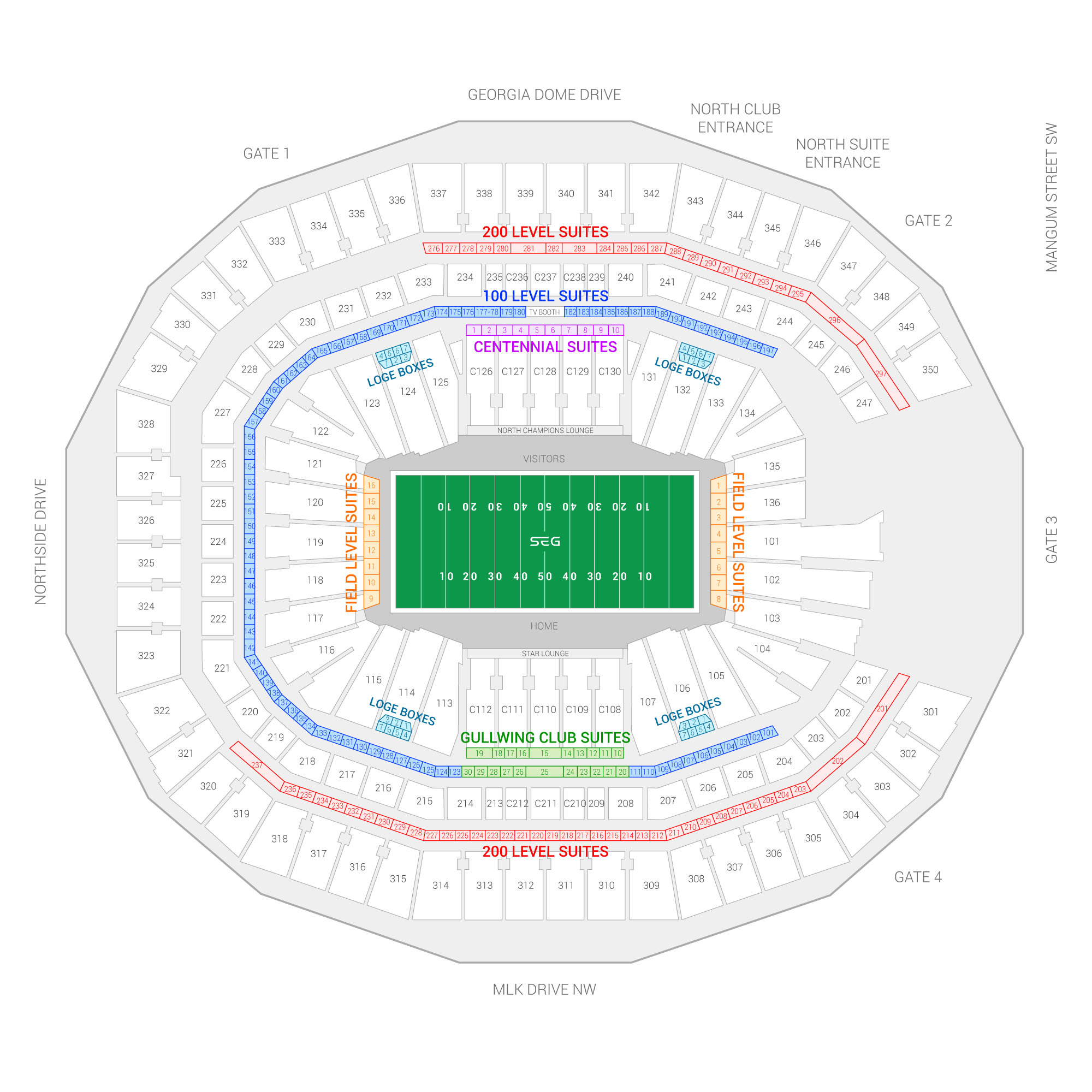 Mercedes-Benz Stadium / Super Bowl LIII Suite Map and Seating Chart