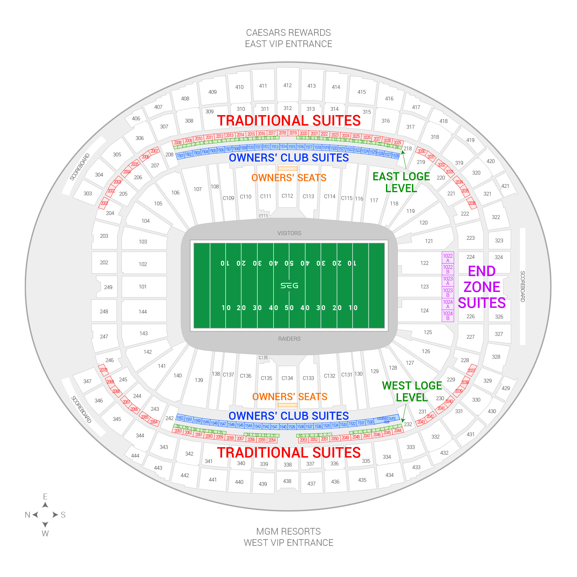 Allegiant Stadium /  Suite Map and Seating Chart