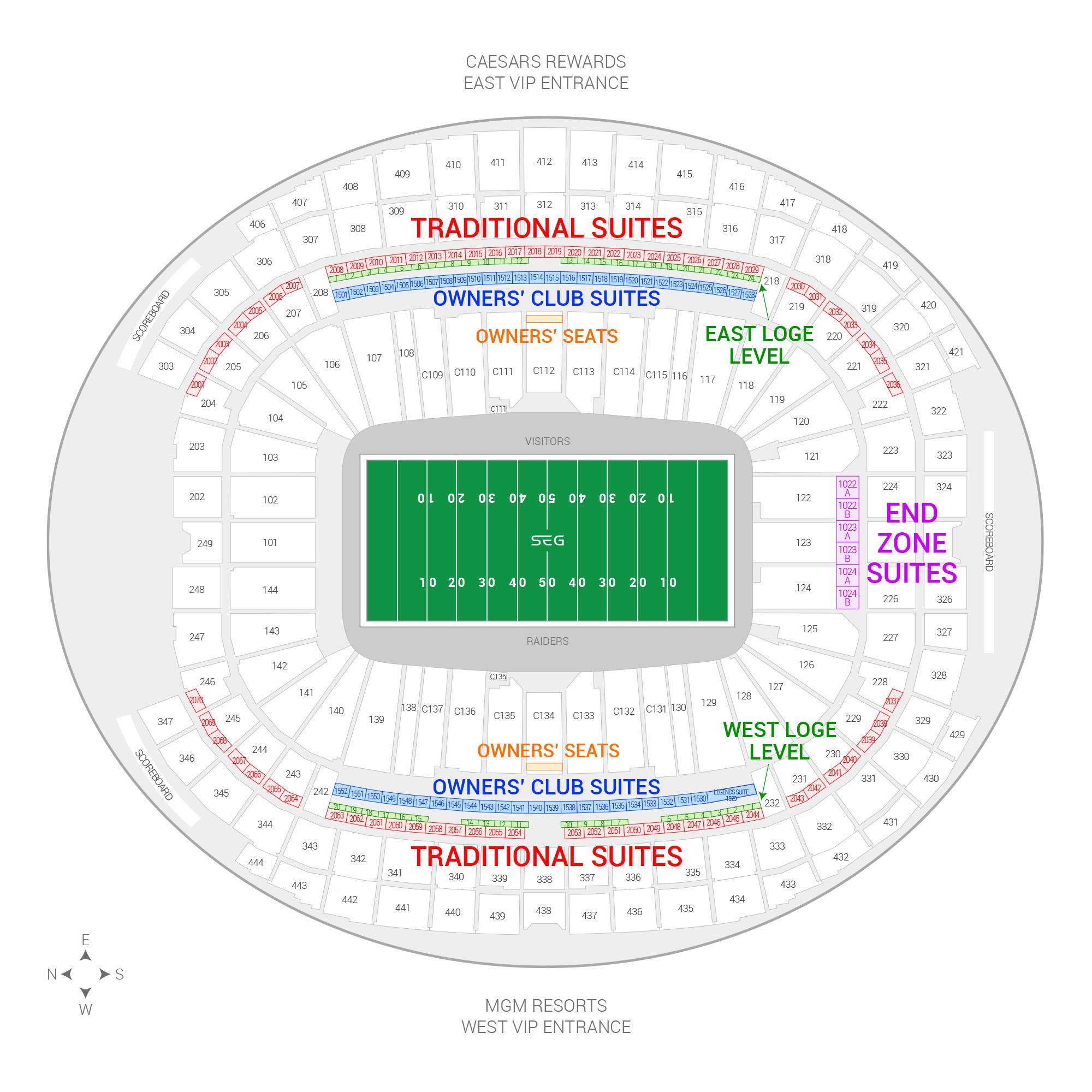 Allegiant Stadium /  Suite Map and Seating Chart