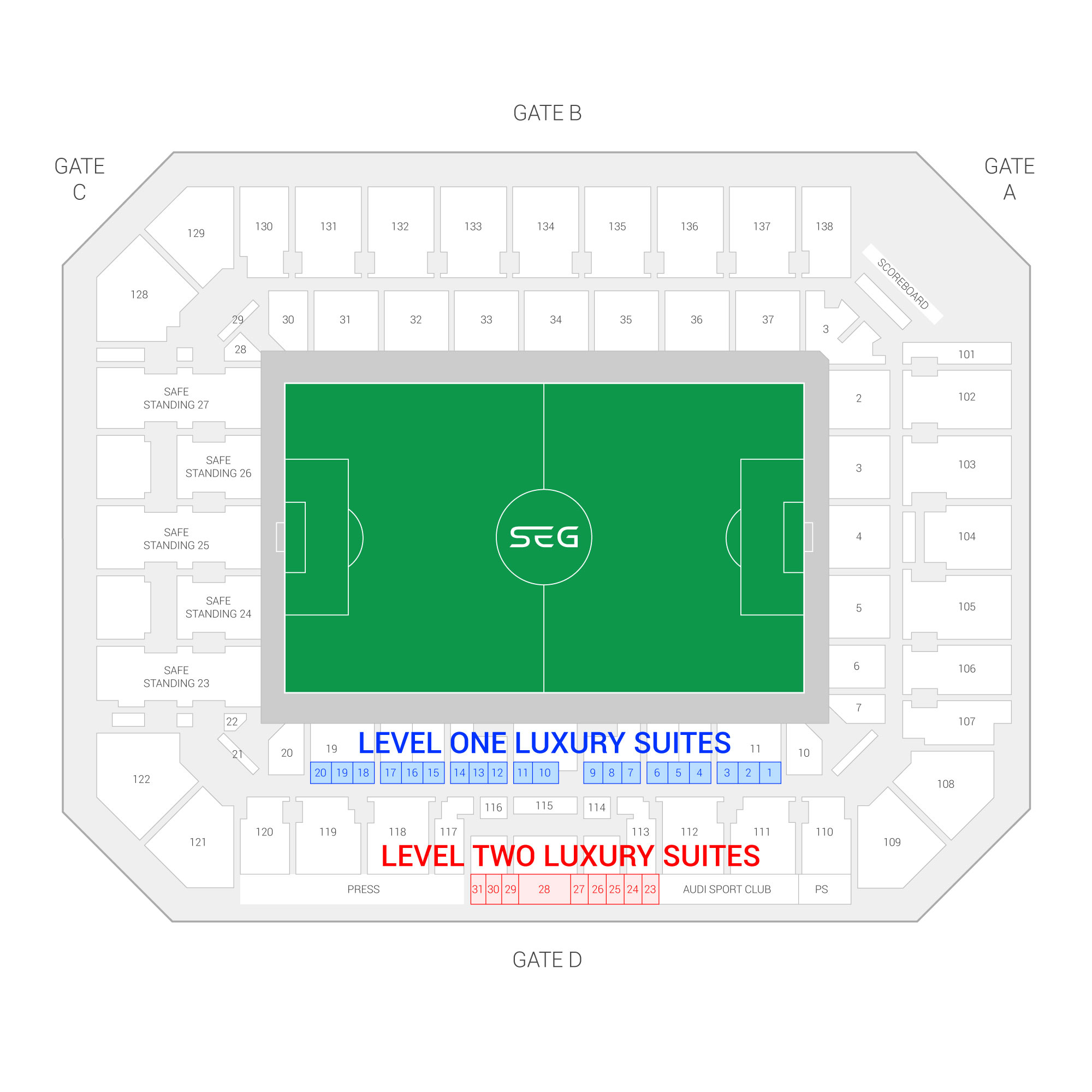 Orlando City Stadium / Orlando City SC Suite Map and Seating Chart