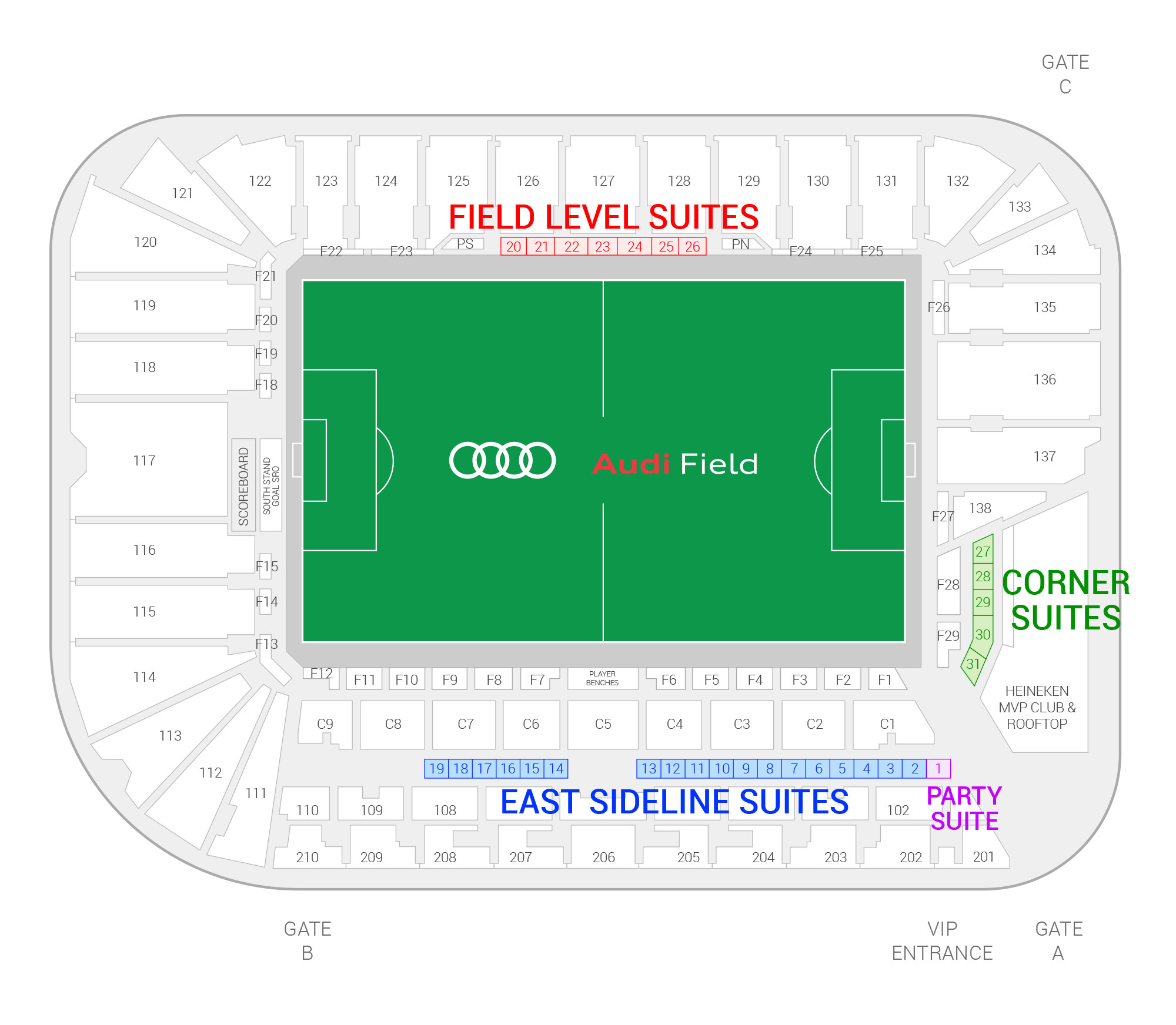 Audi Field / D.C. United Suite Map and Seating Chart