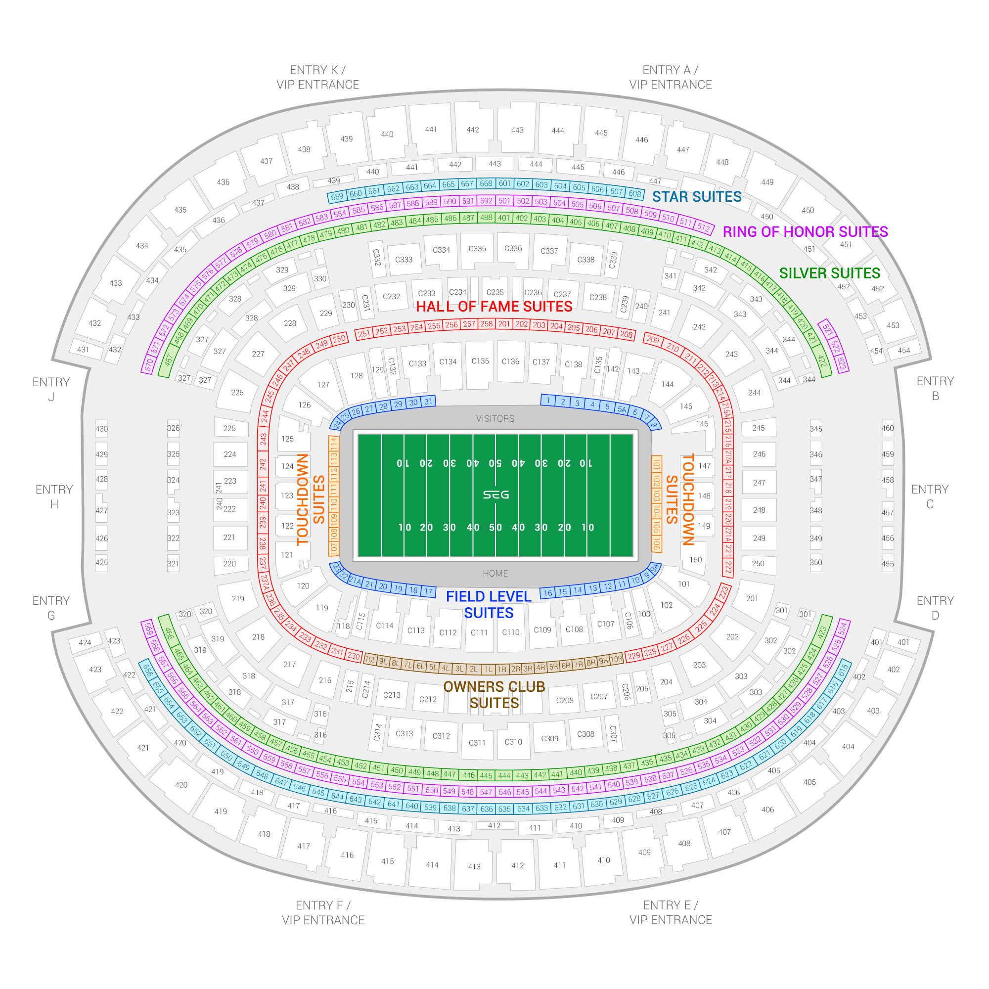 AT&T Stadium / Big 12 Football Championship Game Suite Map and Seating Chart