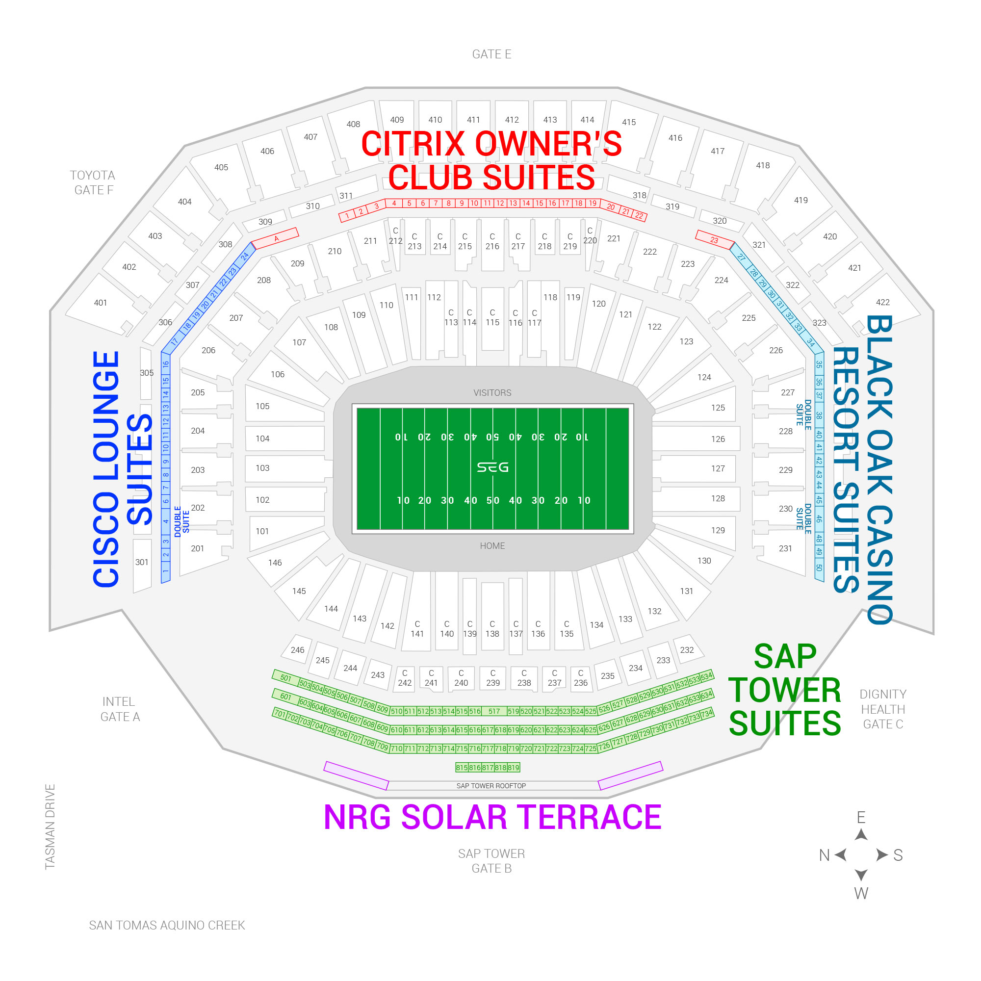 Levi's Stadium / Redbox Bowl Suite Map and Seating Chart