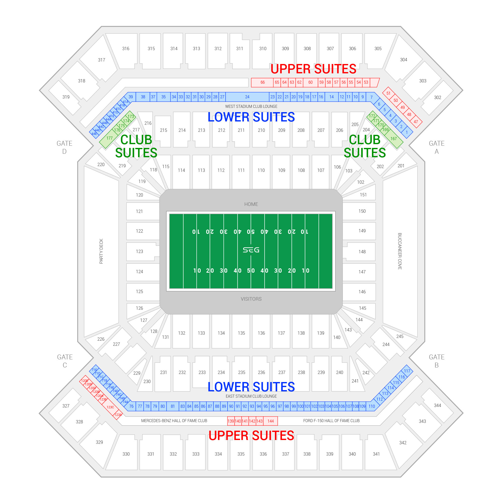 Raymond James Stadium / Super Bowl LV Suite Map and Seating Chart